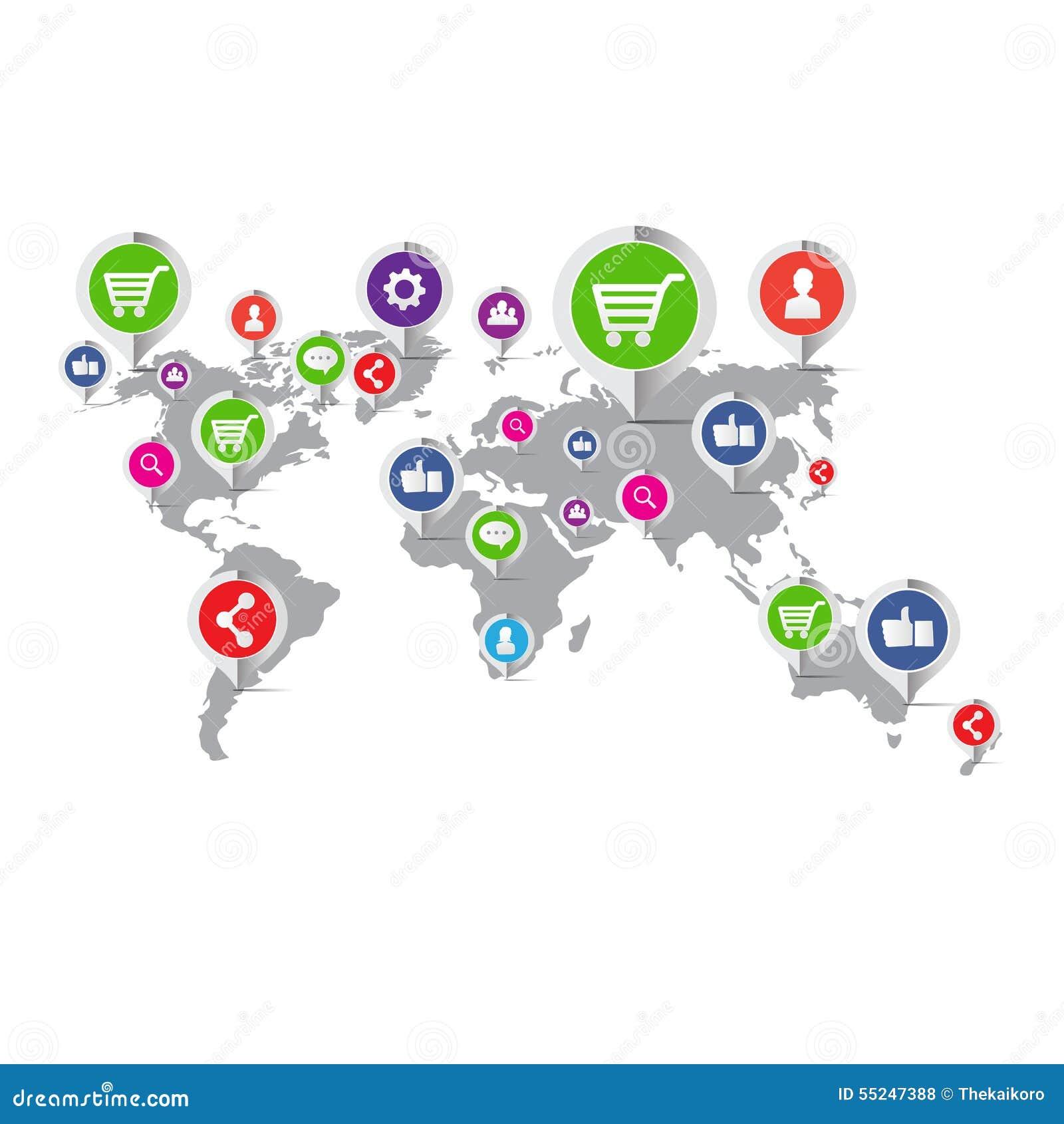 Κοινωνικό εικονίδιο έννοιας μάρκετινγκ δικτύων - διανυσματική απεικόνιση