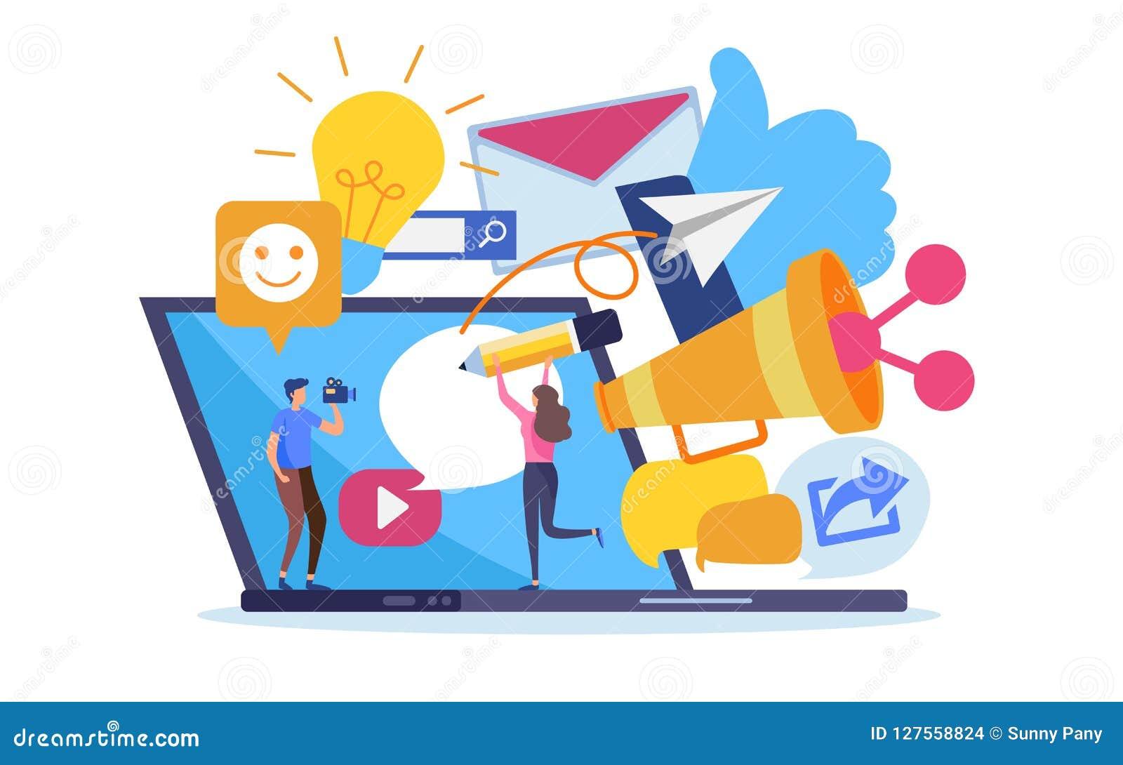 Κοινωνικό περιεχόμενο μάρκετινγκ δικτύων σε απευθείας σύνδεση Διάνυσμα απεικόνισης κινούμενων σχεδίων γραφικό