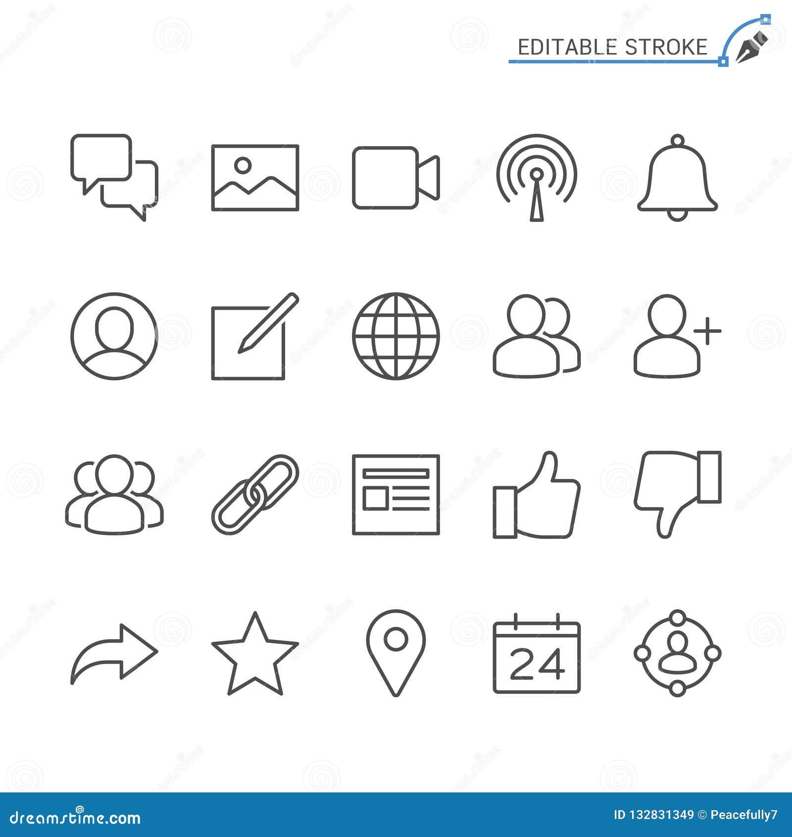Κοινωνικό σύνολο εικονιδίων περιλήψεων δικτύων