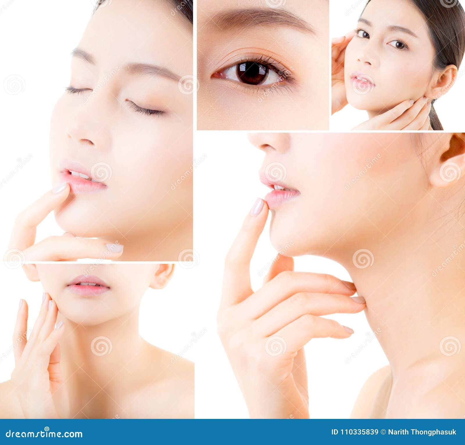 Κολάζ διάφορων φωτογραφιών για την όμορφη ασιατική γυναίκα makeup του καλλυντικού, μάγουλο αφής χεριών κοριτσιών, πρόσωπο της ομο