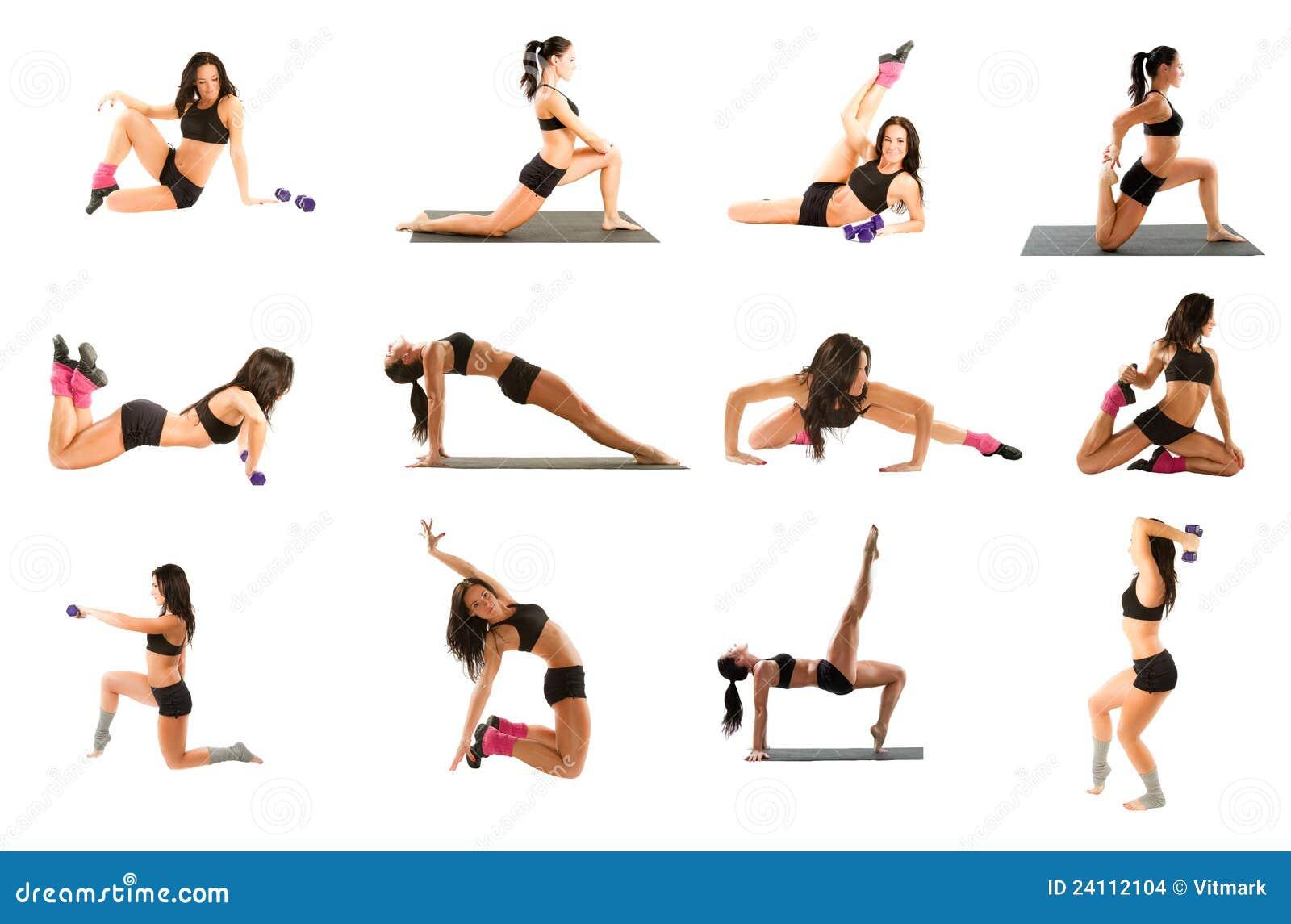 κολάζ που ασκεί τη γιόγκα γυναικών ικανότητας pilates