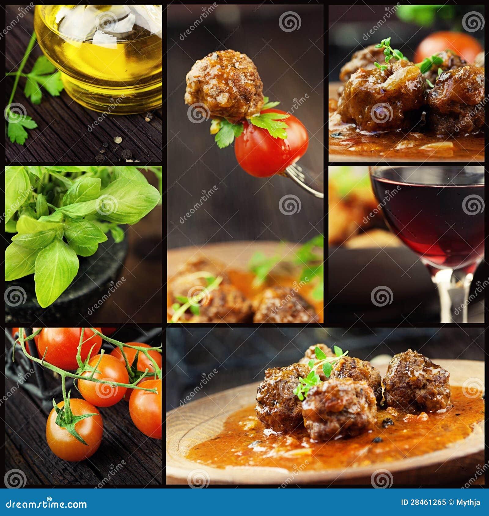 Κολάζ τροφίμων - σφαίρες κρέατος