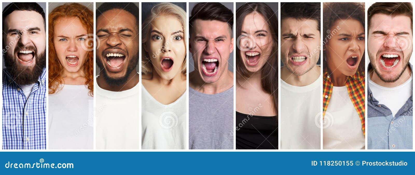 Κολάζ των διαφορετικών ανθρώπων που φωνάζουν στο υπόβαθρο στούντιο