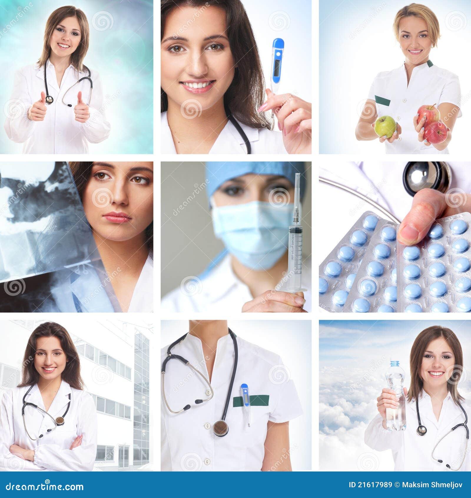 Κολάζ υγειονομικής περίθαλψης φιαγμένο από μερικές εικόνες