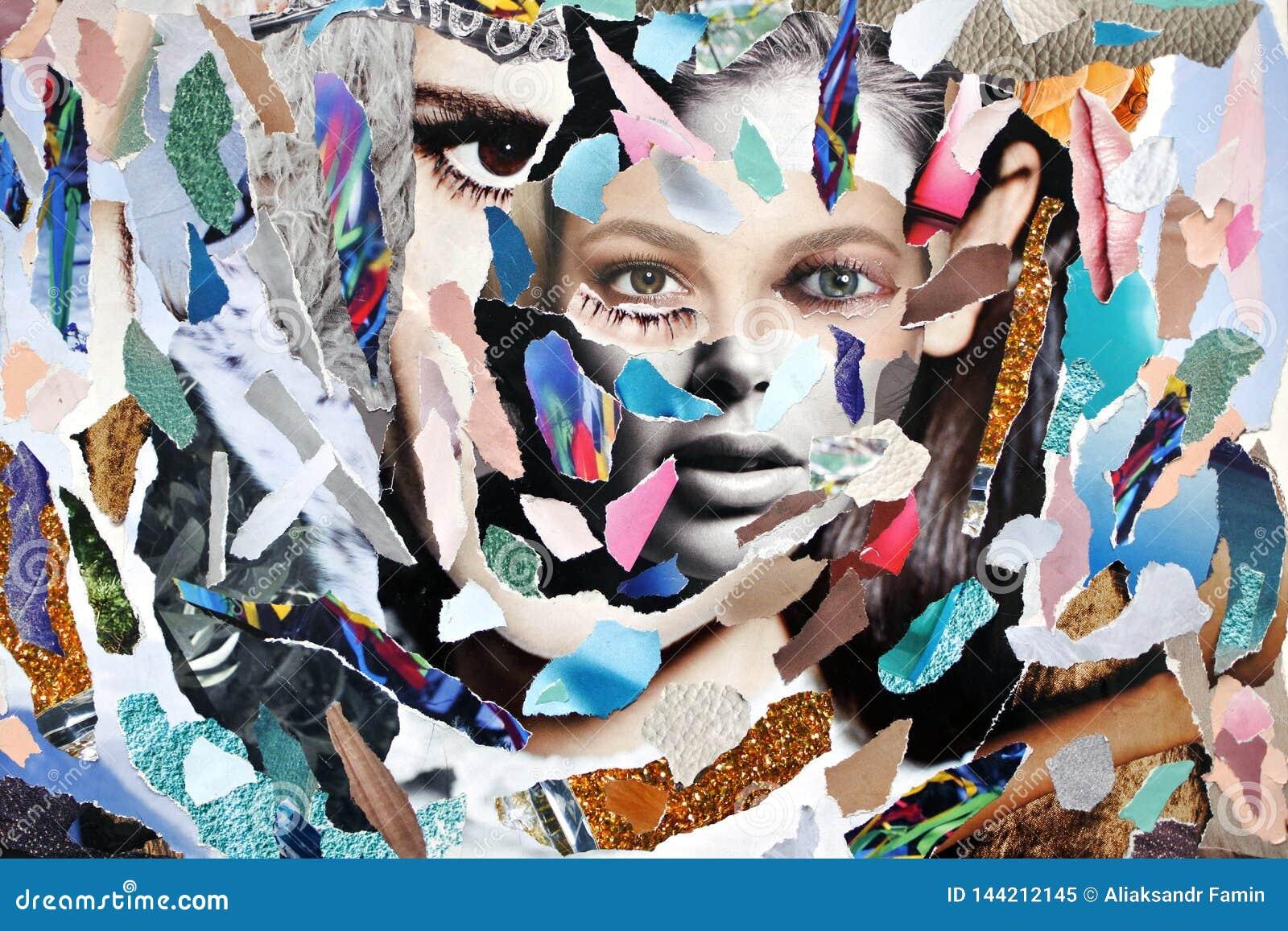 Κολλημένα χρωματισμένα κομμάτια απορρίματα περιοδικών