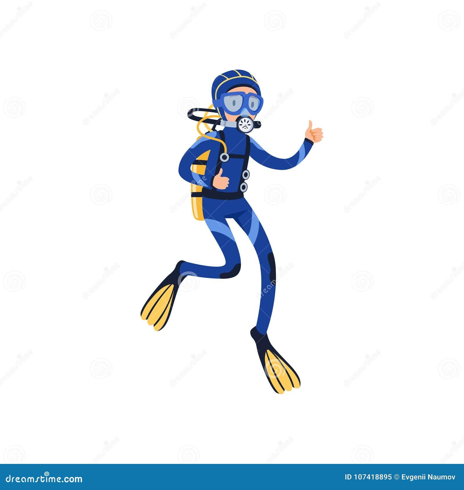 Κολύμβηση δυτών υποβρύχια και παρουσίαση αντίχειρα Άτομο στο ειδικά κοστούμι κατάδυσης, τη μάσκα, τα βατραχοπέδιλα και το αέριο α