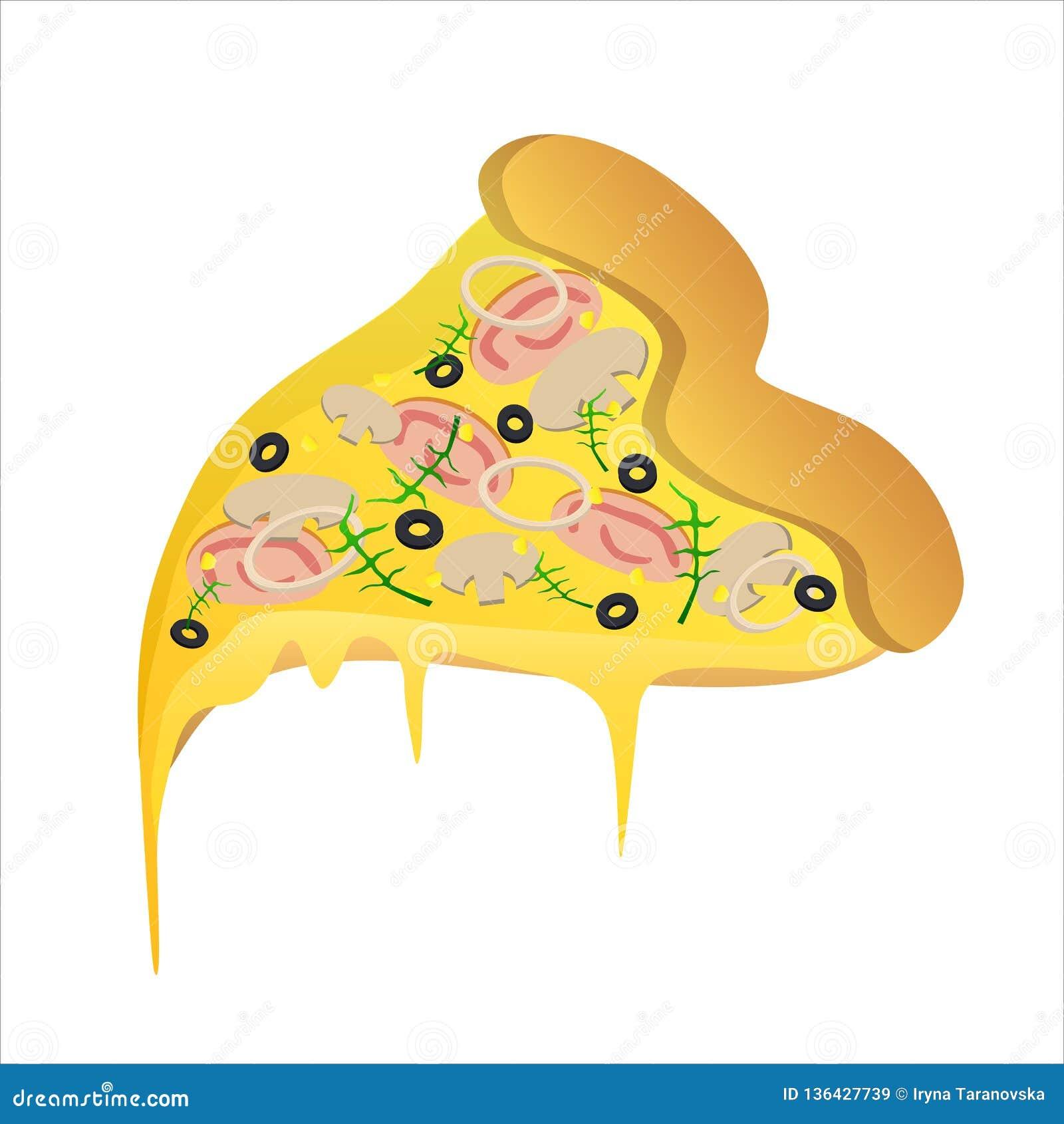 Κομμάτι της χορτοφάγου πίτσας με το ζαμπόν και το τυρί