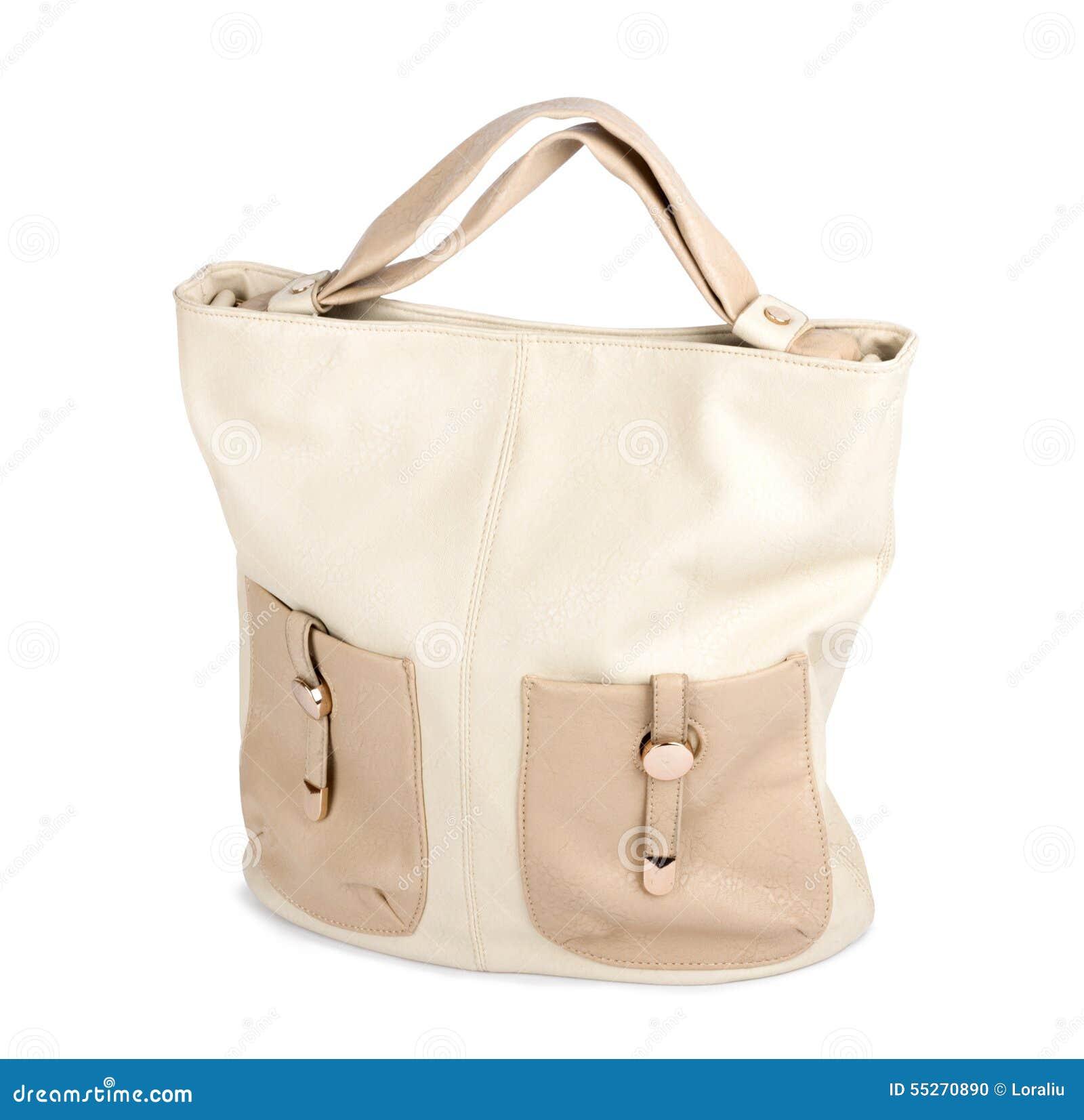 8c6a9f7377 Κομψή γυναικεία μπεζ τσάντα που απομονώνεται Στοκ Εικόνες - εικόνα ...