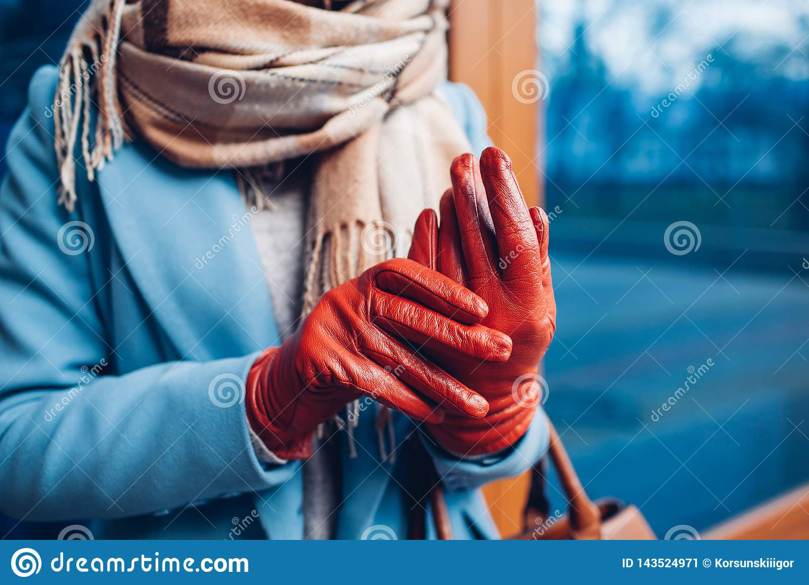 Κομψή εξάρτηση Κινηματογράφηση σε πρώτο πλάνο της μοντέρνης γυναίκας στο παλτό, το μαντίλι και τα καφετιά γάντια Μοντέρνο κορίτσι