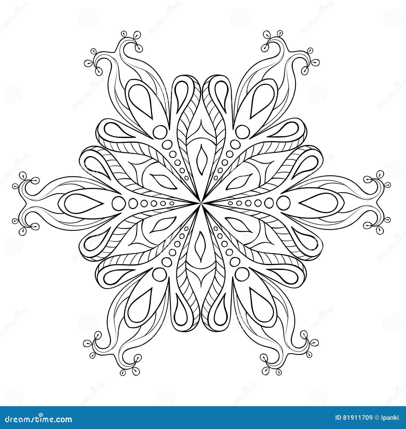 Κομψή νιφάδα χιονιού Zentangle Διανυσματικός διακοσμητικός χειμώνας illustrat