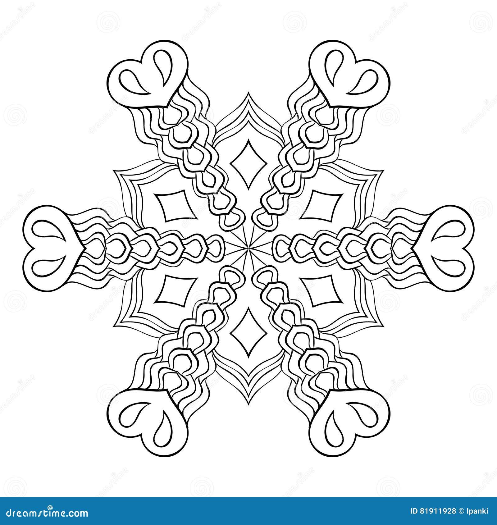 Κομψή νιφάδα χιονιού Zentangle, mandala για τις ενήλικες χρωματίζοντας σελίδες