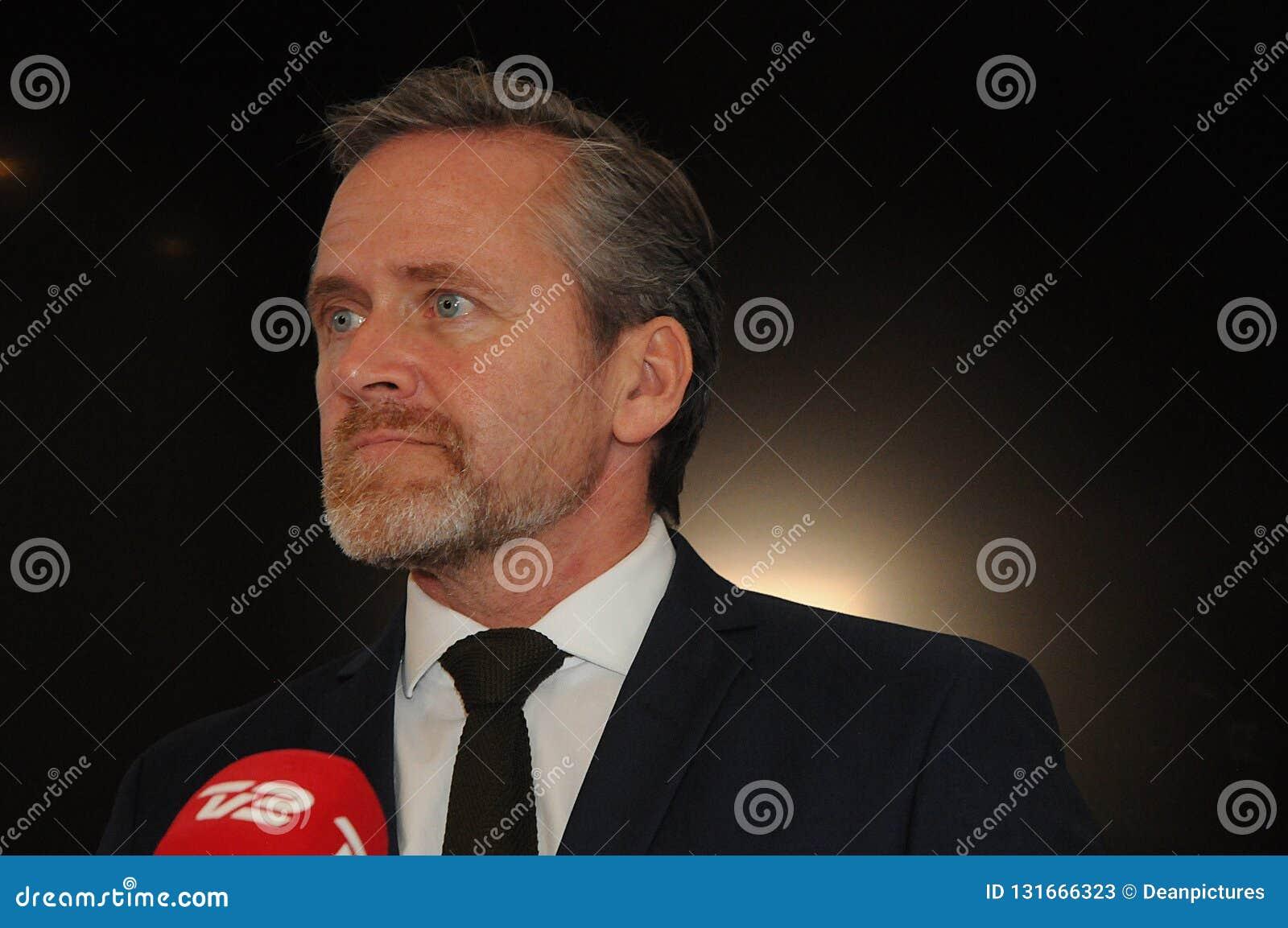 Κοπεγχάγη/Δανία 15 Το Νοέμβριο του 2018 Δανικός υπουργός του Anders Samuelsen τριών υπουργών της Δανίας ξένου - Υπουργός υποθέσεω