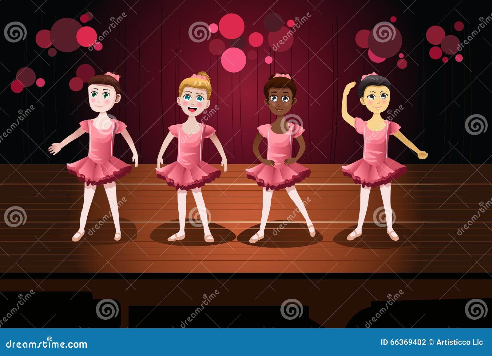 Κορίτσια σε μια απόδοση μπαλέτου