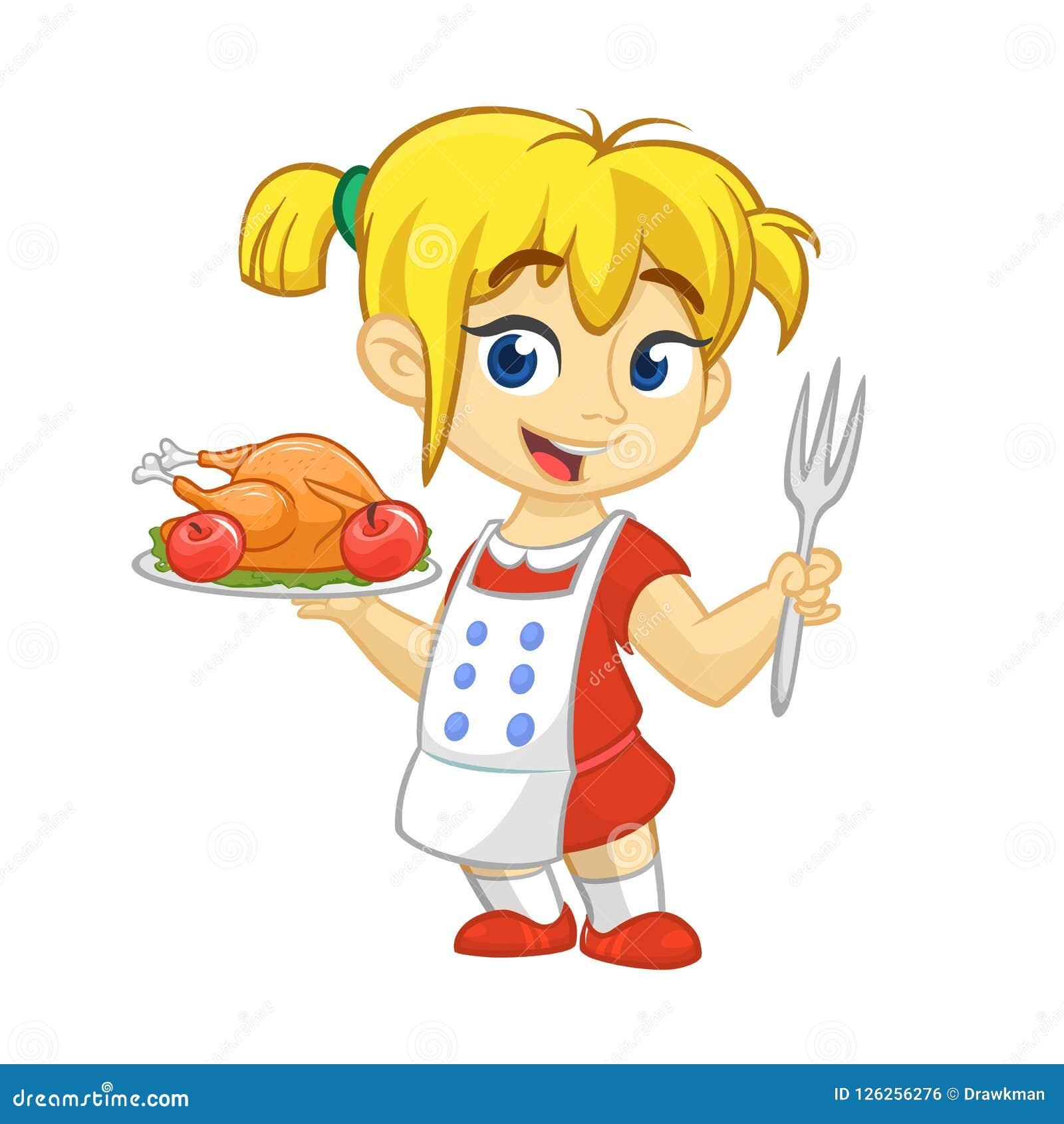 f7d0a7e321ac Κορίτσι κινούμενων σχεδίων που εξυπηρετεί το ψημένο πιάτο της Τουρκίας  ημέρας των ευχαριστιών Σχέδιο ημέρας των