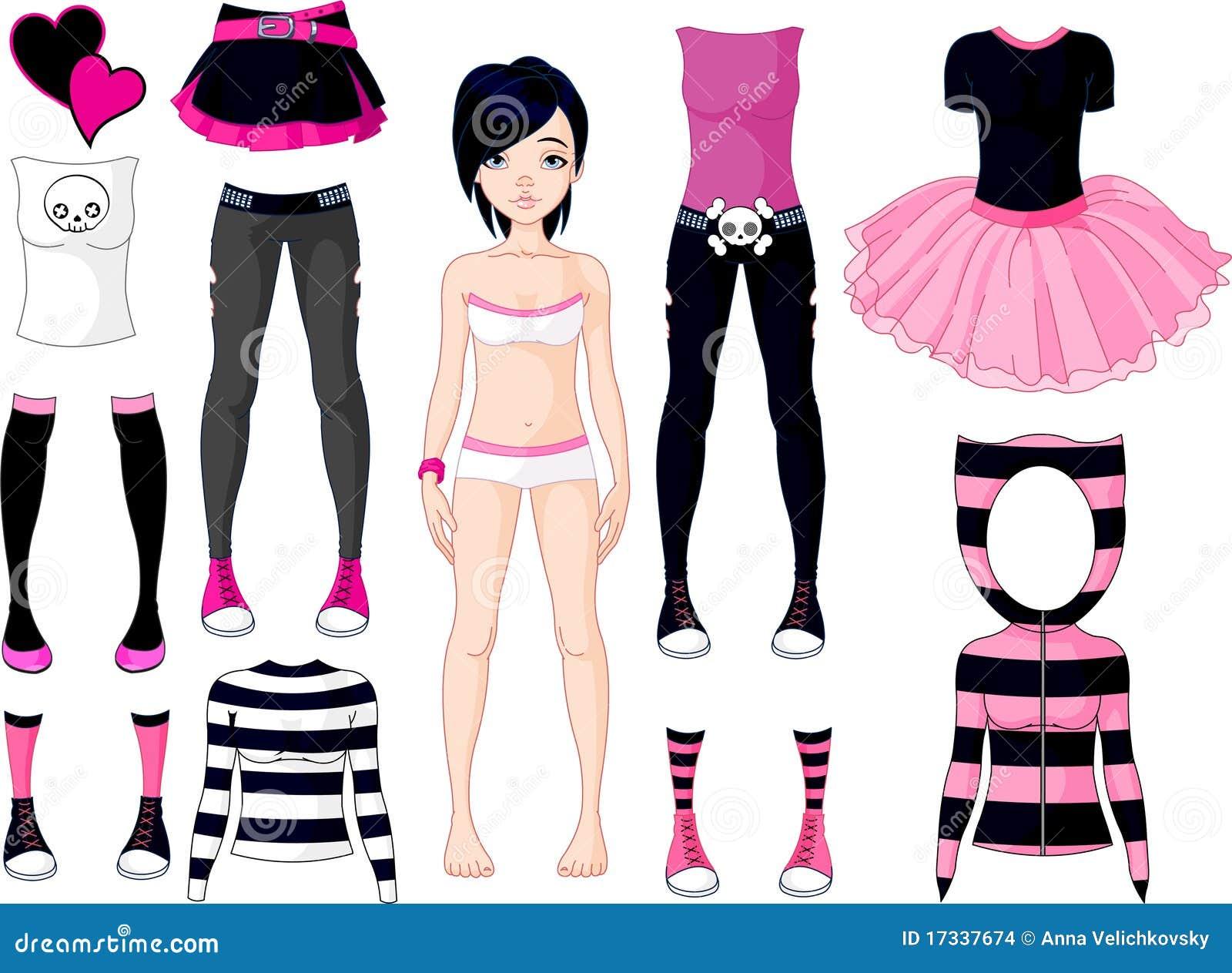 Κορίτσι με τα φορέματα. Σκαλί Emo