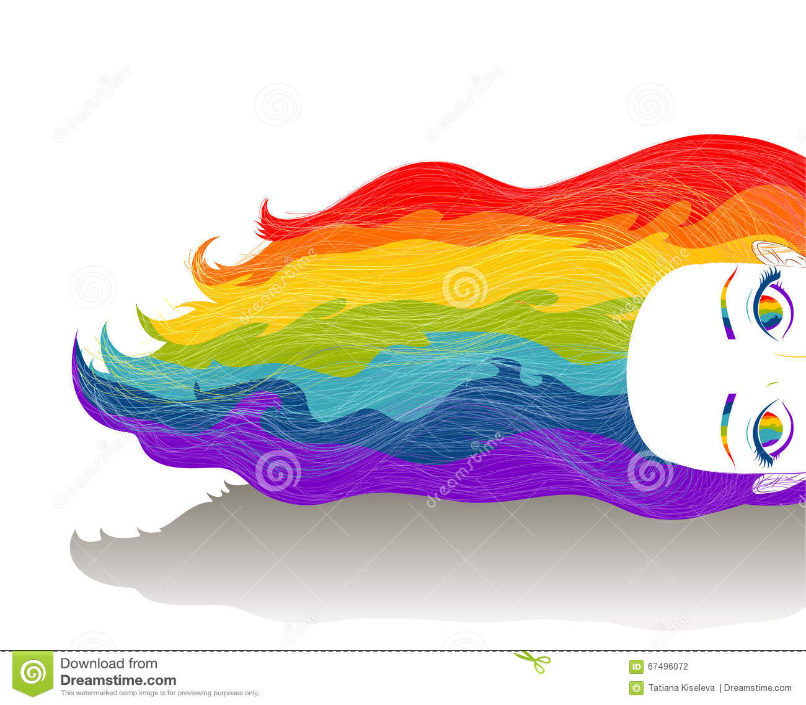 Κορίτσι με τη μακριά τρίχα χρώματος ουράνιων τόξων Μυαλό, δημιουργικό