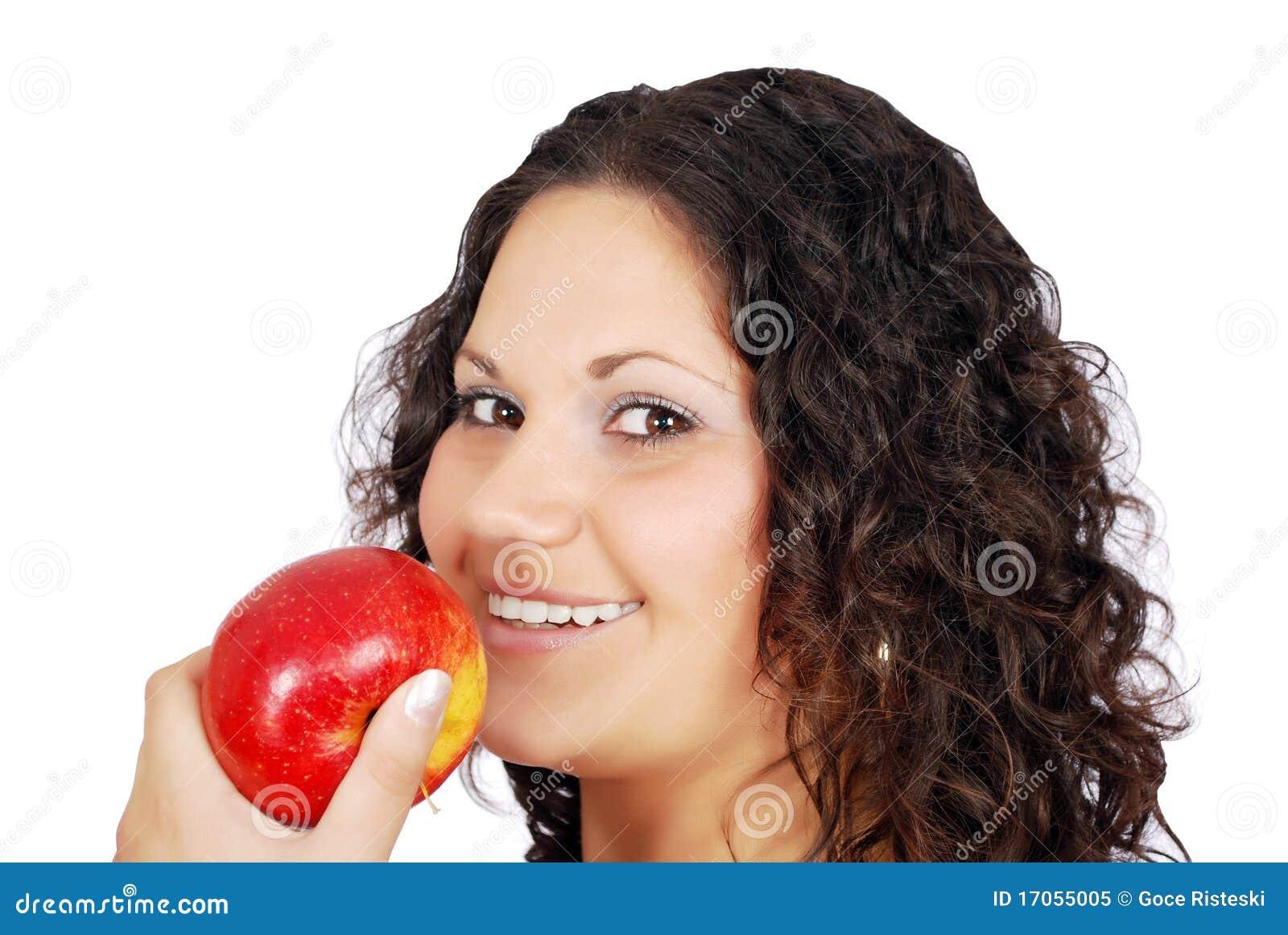 κορίτσι ομορφιάς μήλων