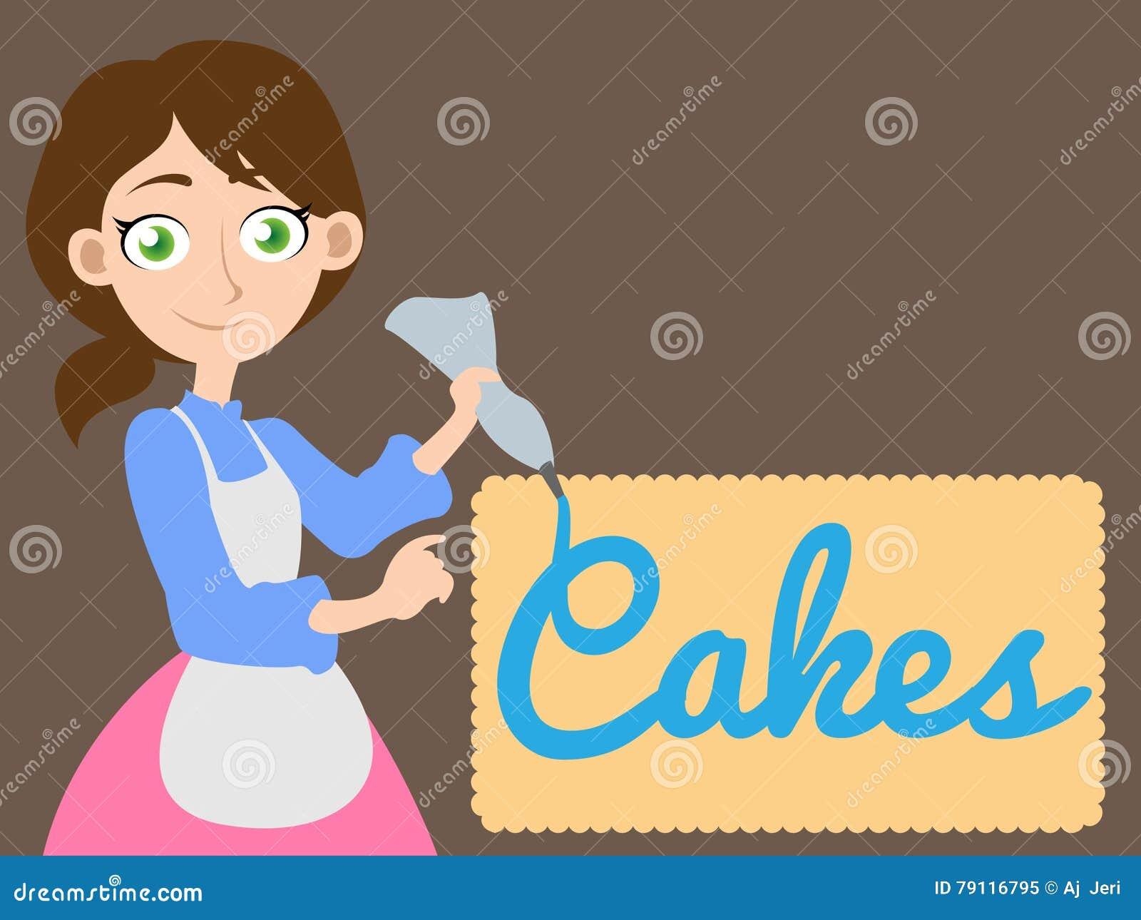 Κορίτσι που γράφει το κέικ λέξης