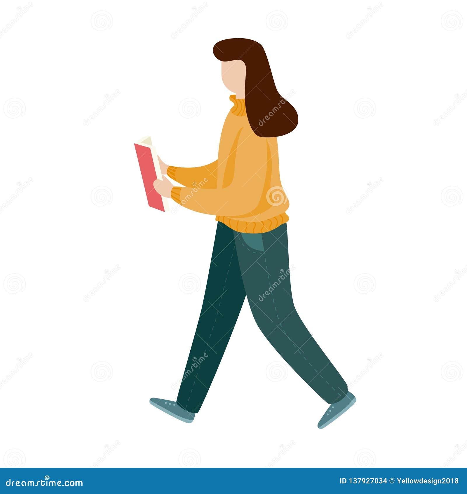 Κορίτσι που διαβάζει ένα βιβλίο και ένα περπάτημα Επίπεδο ύφος