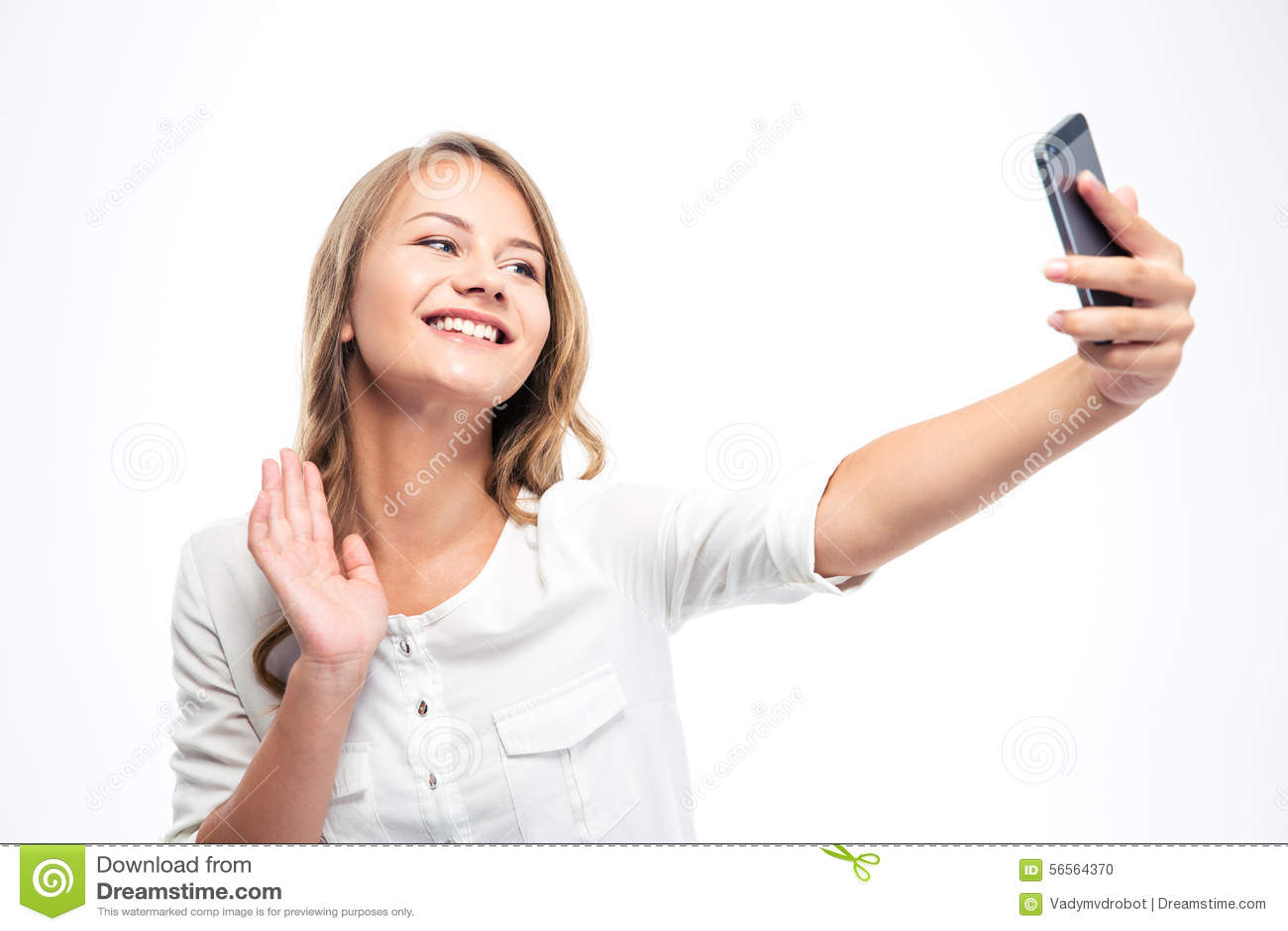 Download Κορίτσι που κάνει Selfie τη φωτογραφία κυματίζοντας το φοίνικα Στοκ Εικόνες - εικόνα από πορτρέτο, πρόσωπο: 56564370