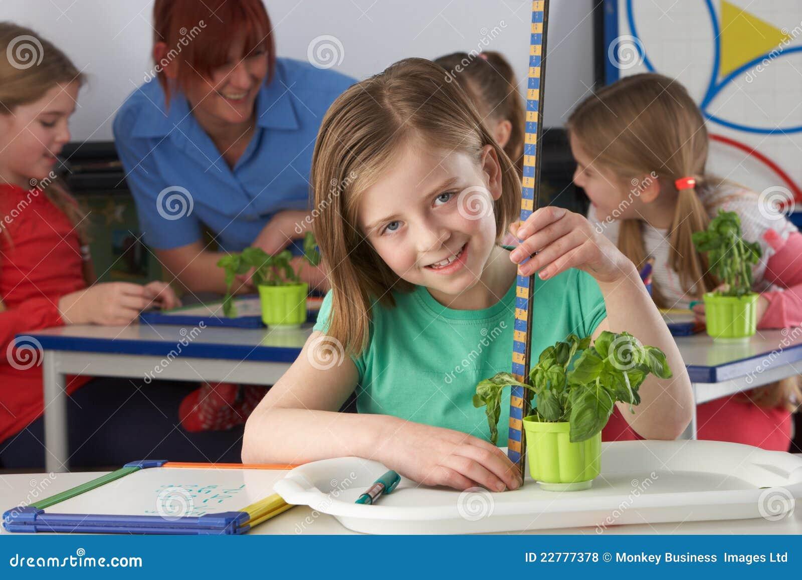Κορίτσι που μαθαίνει για τα φυτά στη σχολική τάξη