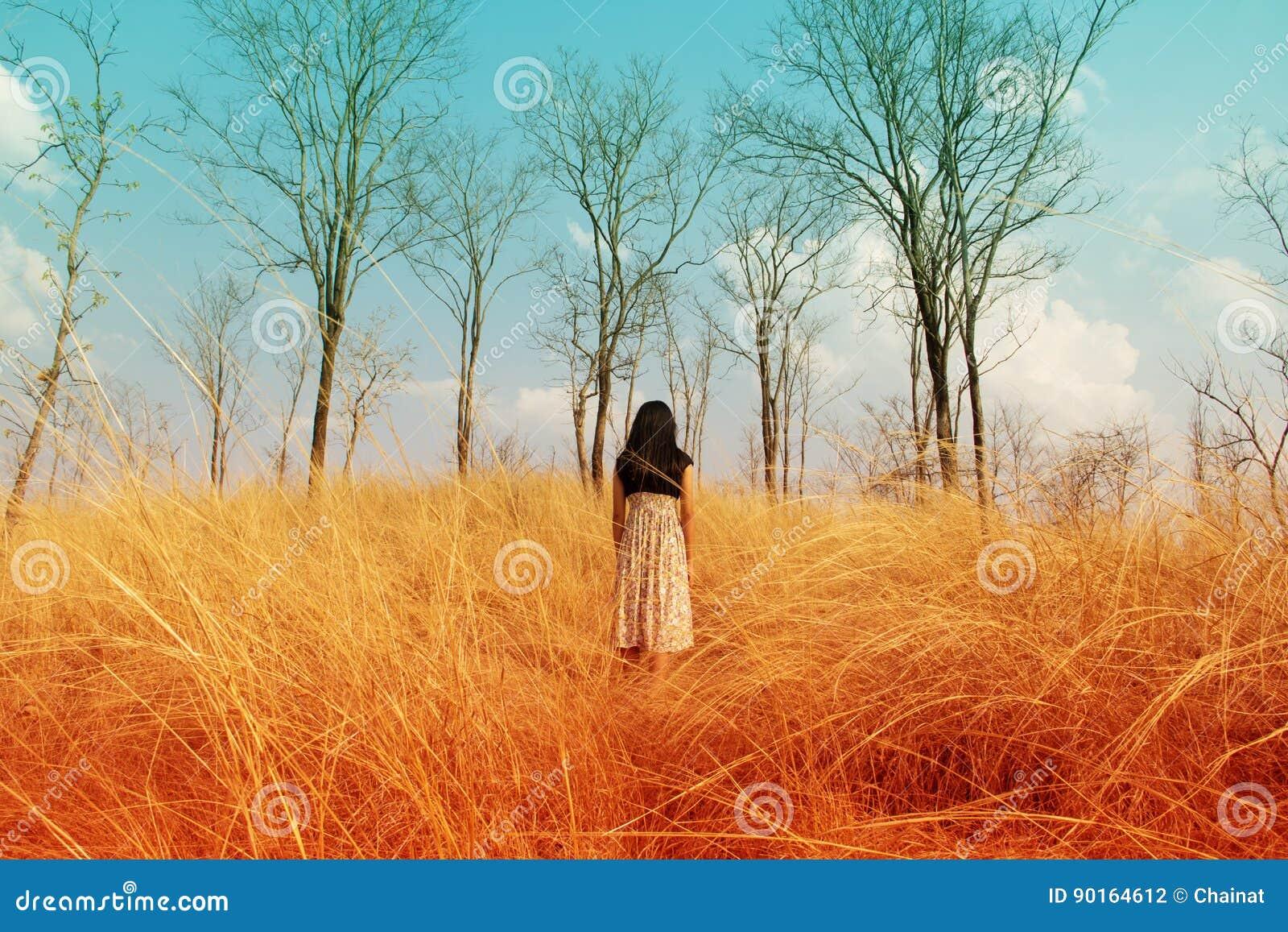 Κορίτσι που χάνεται στα ξύλα