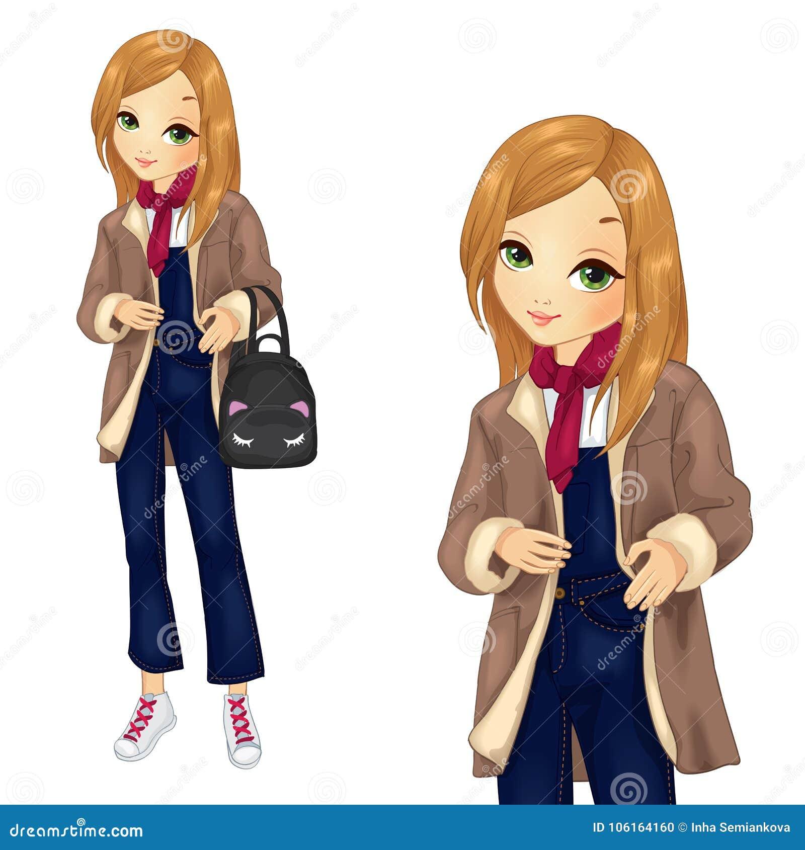 Κορίτσι στις φόρμες τζιν με το σακίδιο πλάτης