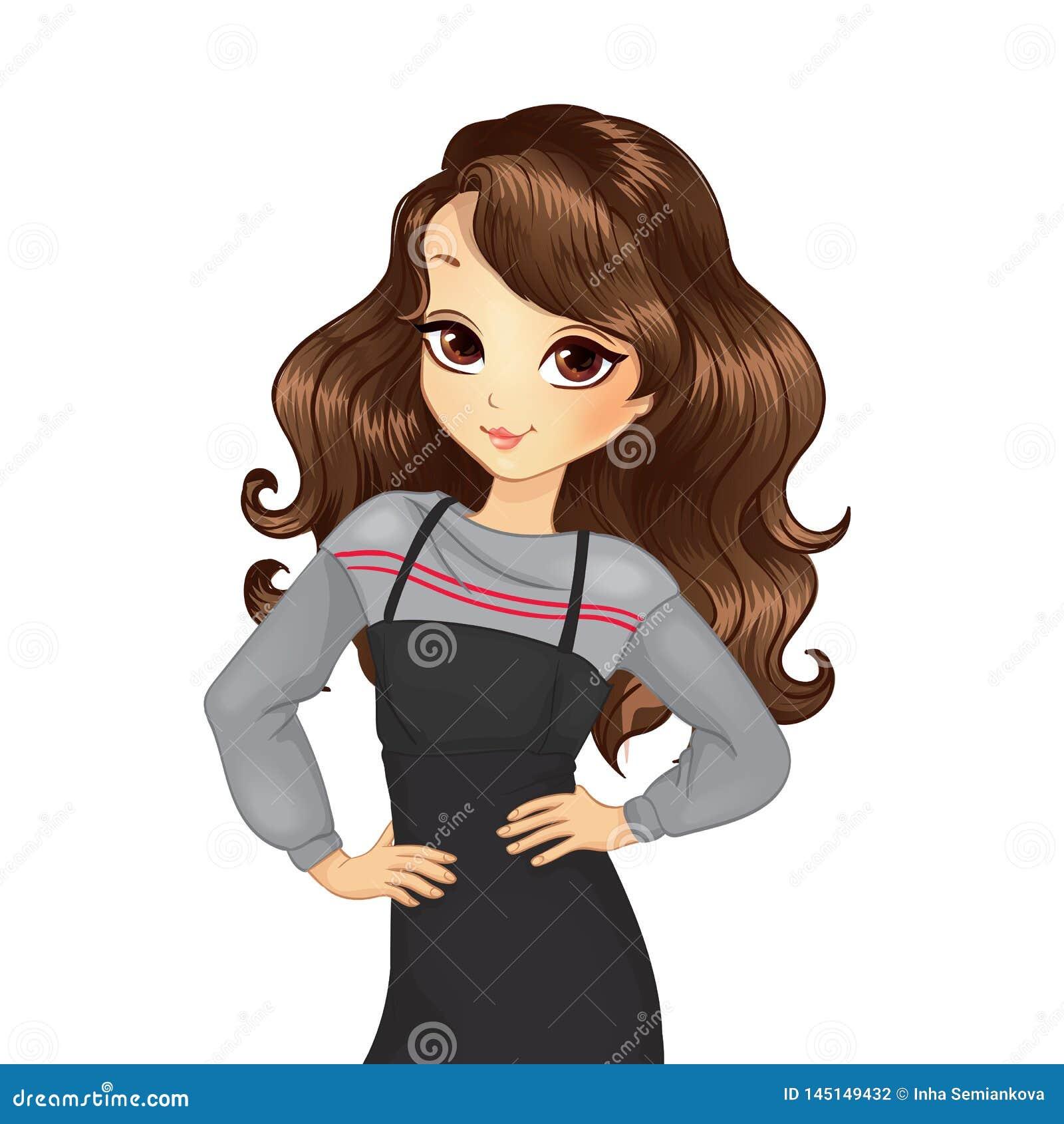 Κορίτσι στο γκρίζο πουλόβερ και μαύρο Sundress