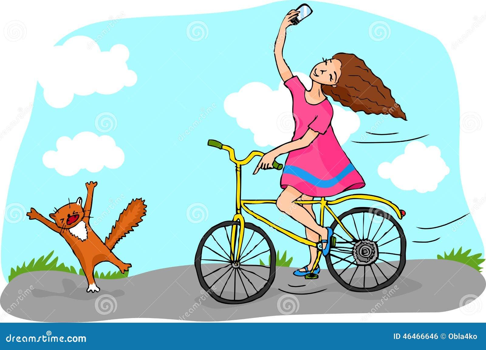 9b1403290c8 Κορίτσι στο ποδήλατο που κάνει Selfie Διανυσματική απεικόνιση ...