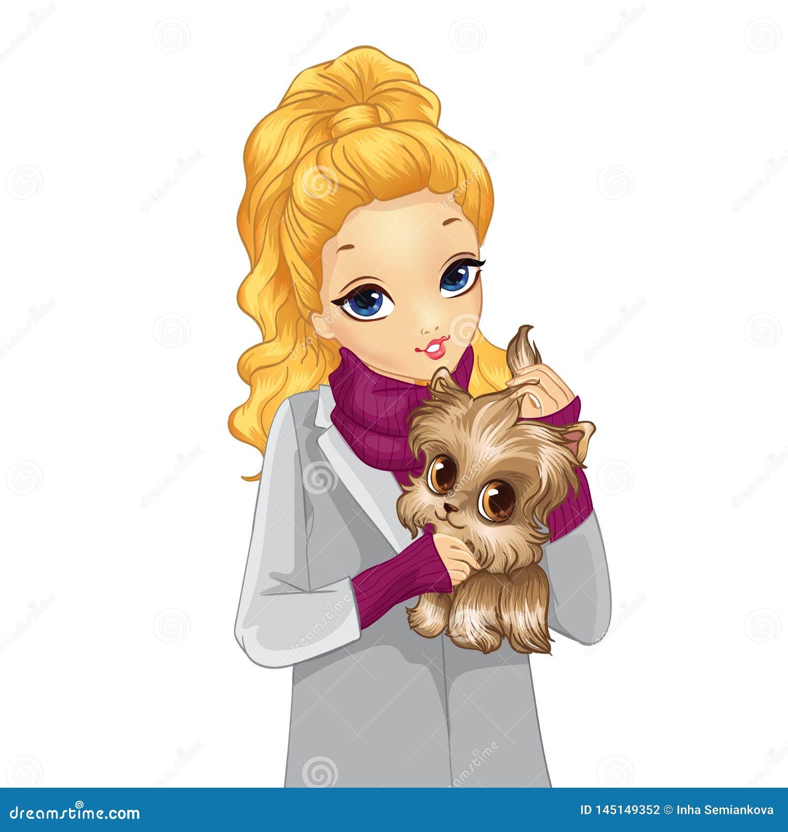 Κορίτσι στο χαριτωμένο σκυλί λαβής παλτών φθινοπώρου