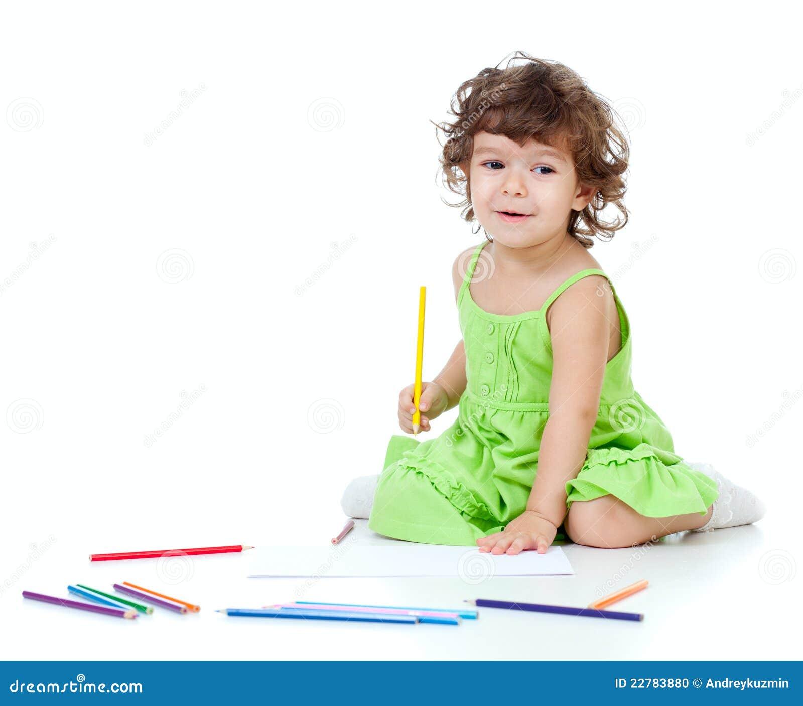κορίτσι σχεδίων λίγο μολύ