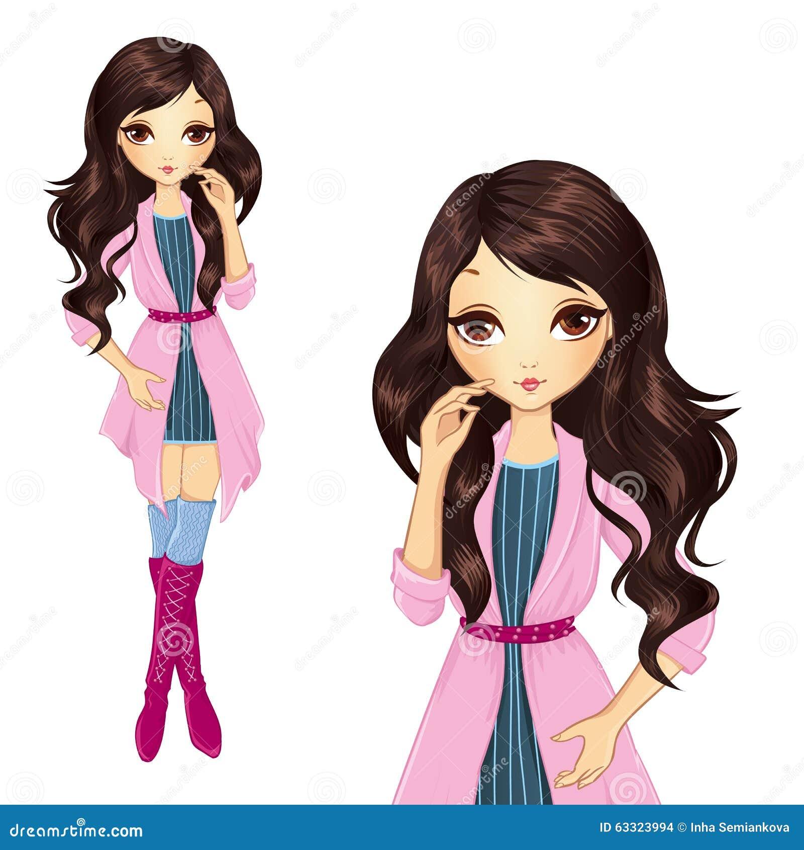 Κορίτσι Brunette στο ρόδινο παλτό