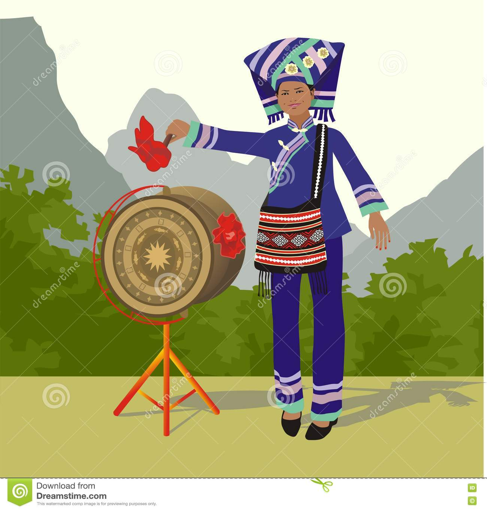 Κορίτσι Zhuang και τύμπανο χαλκού