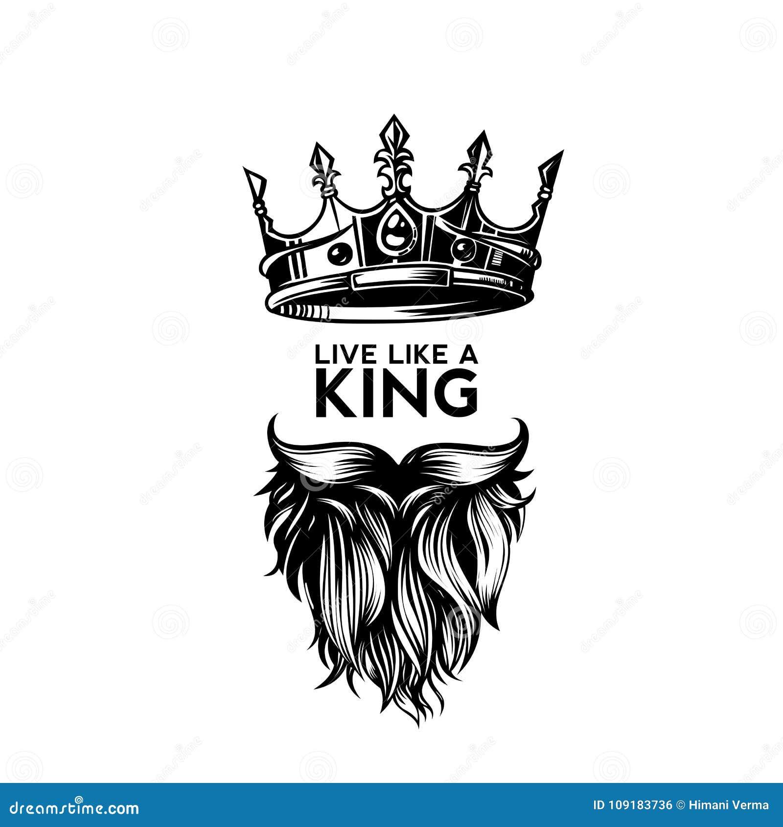 Κορώνα βασιλιάδων, moustache και διανυσματική απεικόνιση λογότυπων γενειάδων