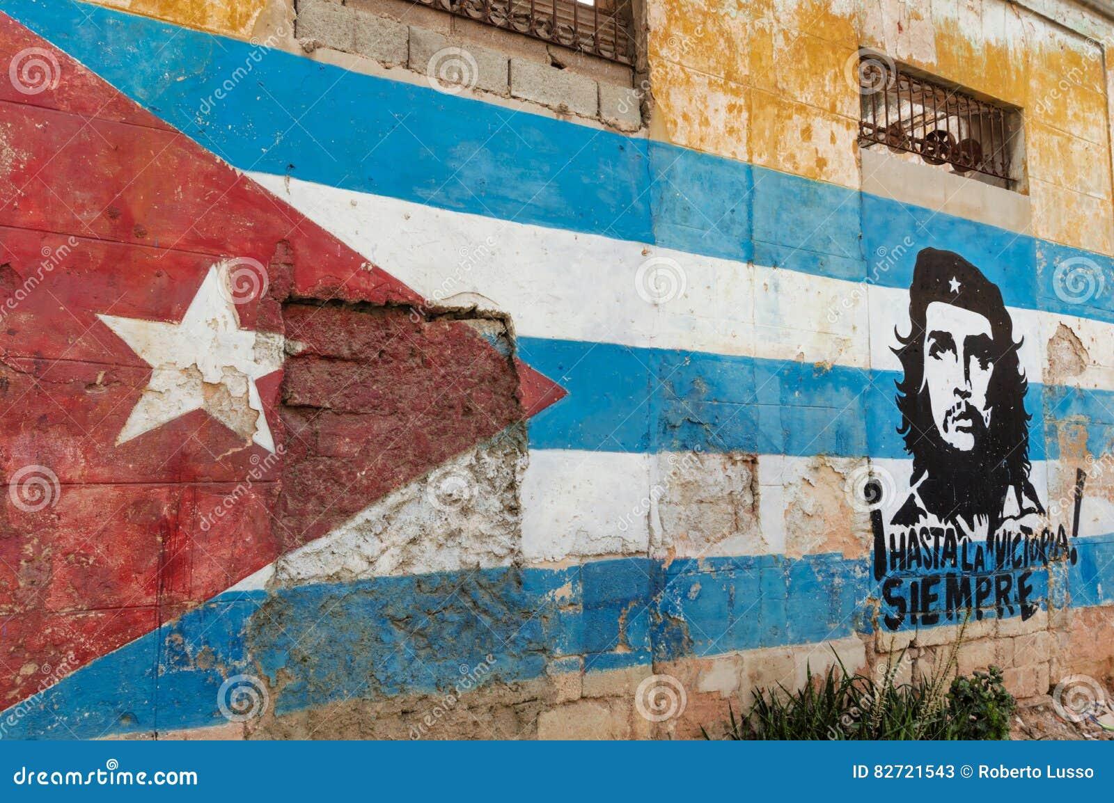 Κουβανικά ζωγραφική και Che Guevara τοίχων σημαιών