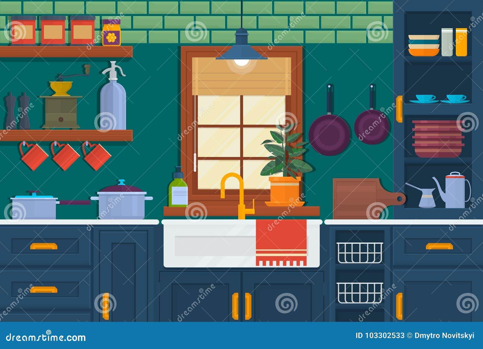 Κουζίνα με τα έπιπλα Άνετο εσωτερικό δωματίων με τον πίνακα, τη σόμπα, το ντουλάπι και τα πιάτα Επίπεδη διανυσματική απεικόνιση ύ