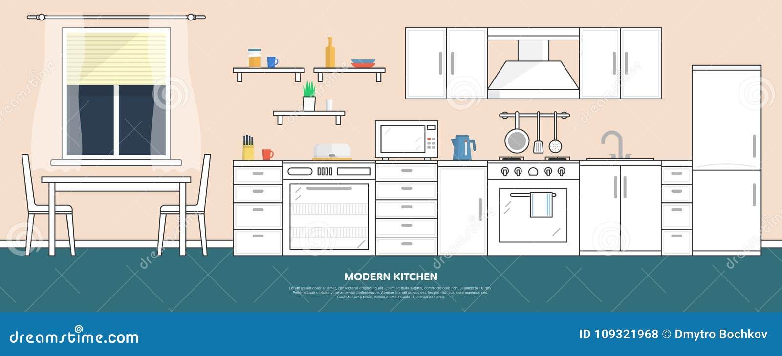 Κουζίνα με τα έπιπλα Εσωτερικό κουζινών με τον πίνακα, τη σόμπα, το ντουλάπι, τα πιάτα και το ψυγείο Επίπεδη διανυσματική απεικόν