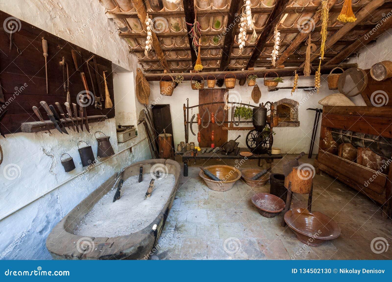 κουζίνα παλαιά Μεσαιωνικό Λα Granja φέουδο-μουσείων στο νησί