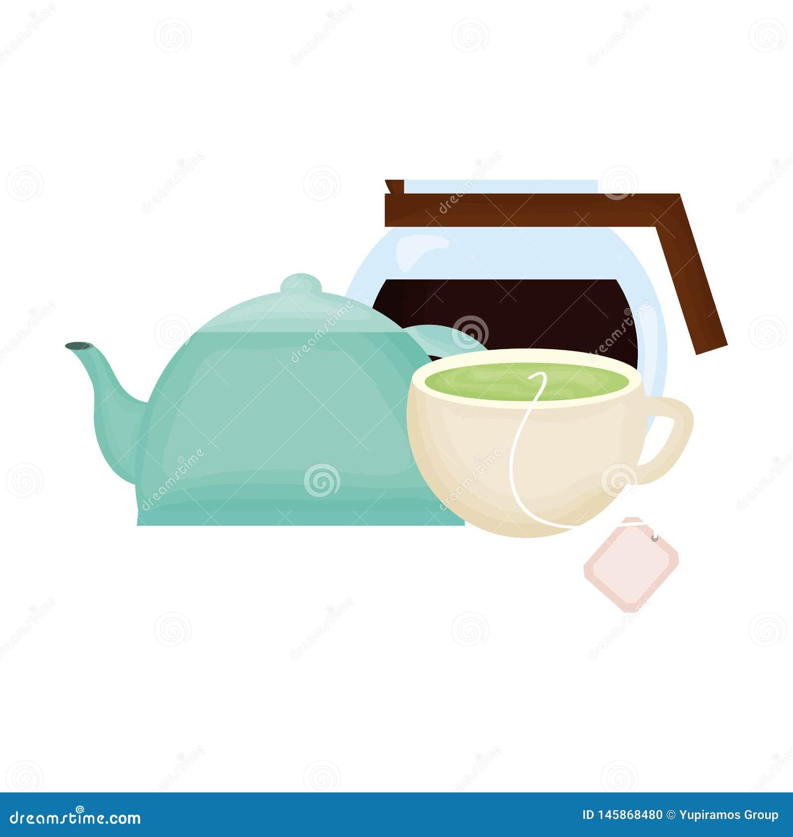 Κουζινών teapot και καφέ ποτά