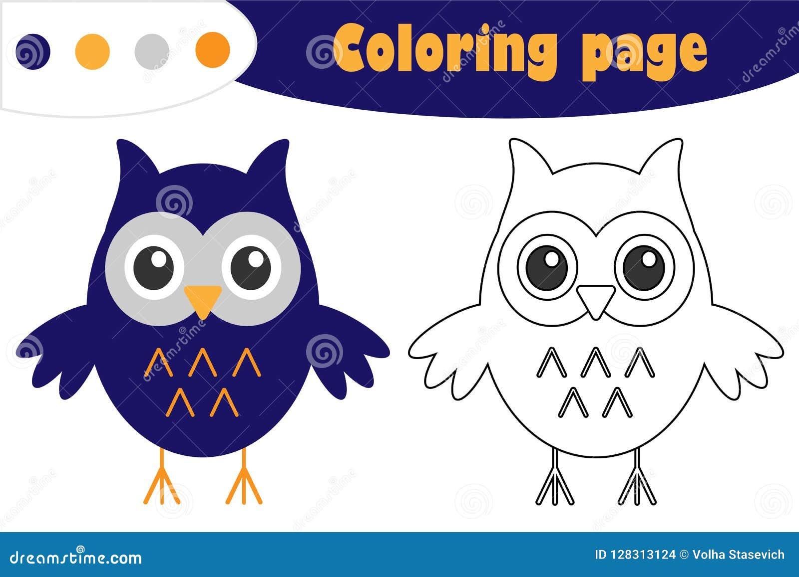 Κουκουβάγια στο ύφος κινούμενων σχεδίων, χρωματίζοντας σελίδα αποκριών, παιχνίδι εγγράφου εκπαίδευσης για την ανάπτυξη των παιδιώ