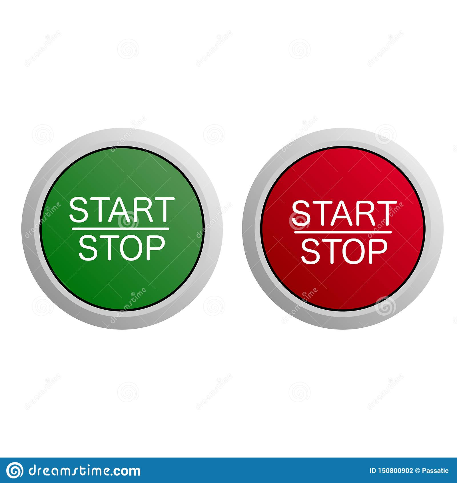 Κουμπί έναρξης και στάσεων στο άσπρο υπόβαθρο