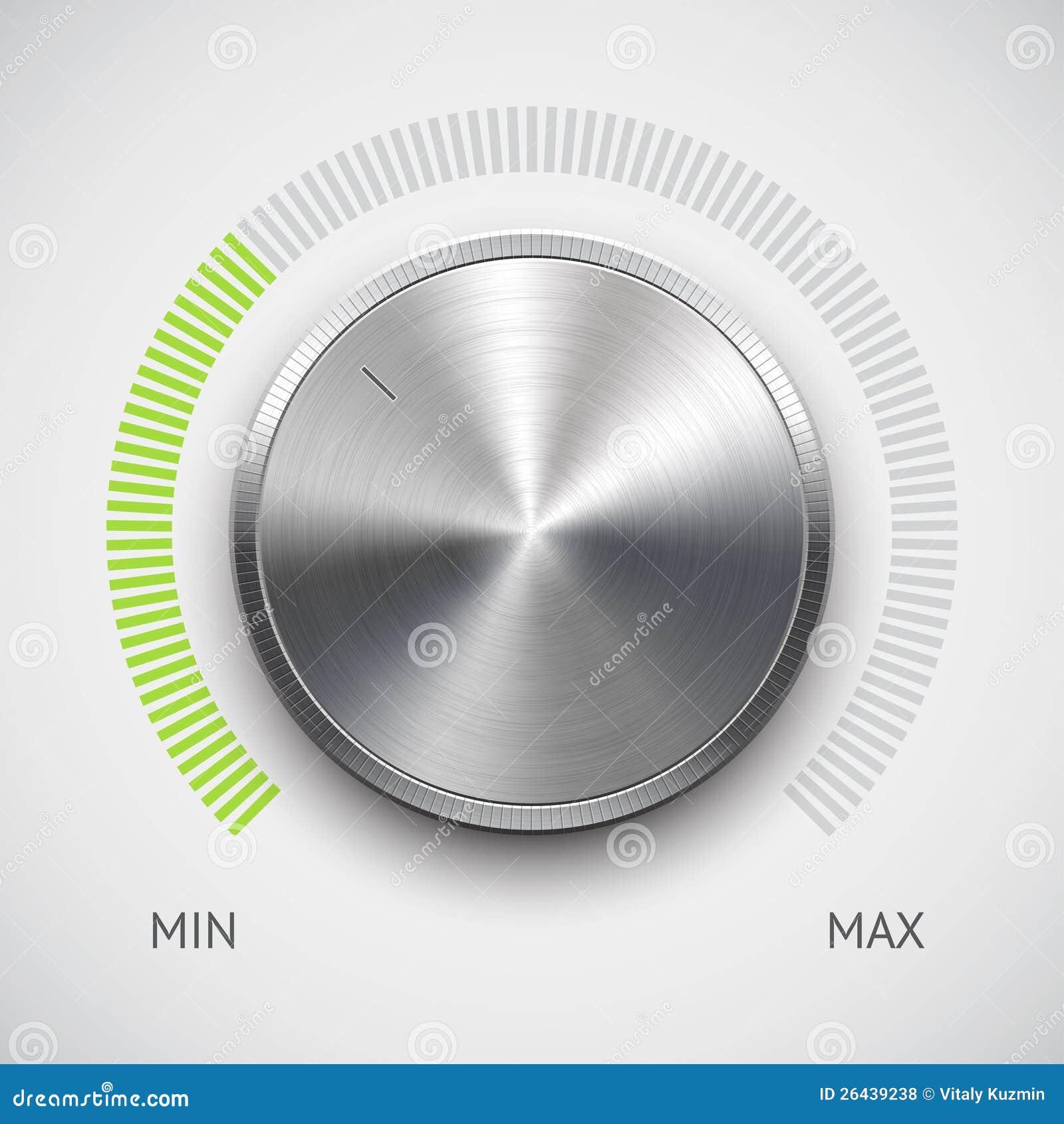 Κουμπί έντασης του ήχου (εξόγκωμα) με τη σύσταση μετάλλων (χρώμιο)