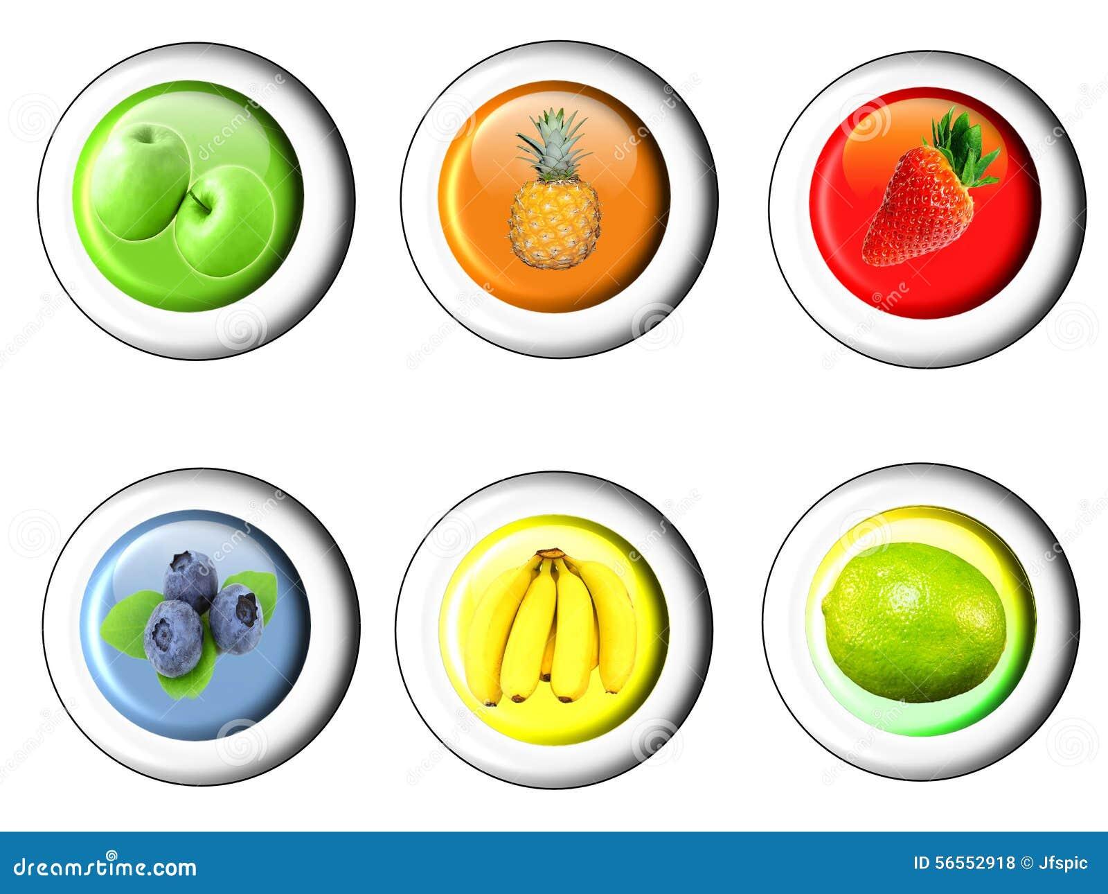 Download Κουμπί που τίθεται με το εικονίδιο φρούτων Απεικόνιση αποθεμάτων - εικονογραφία από εξωτικός, λεμόνι: 56552918