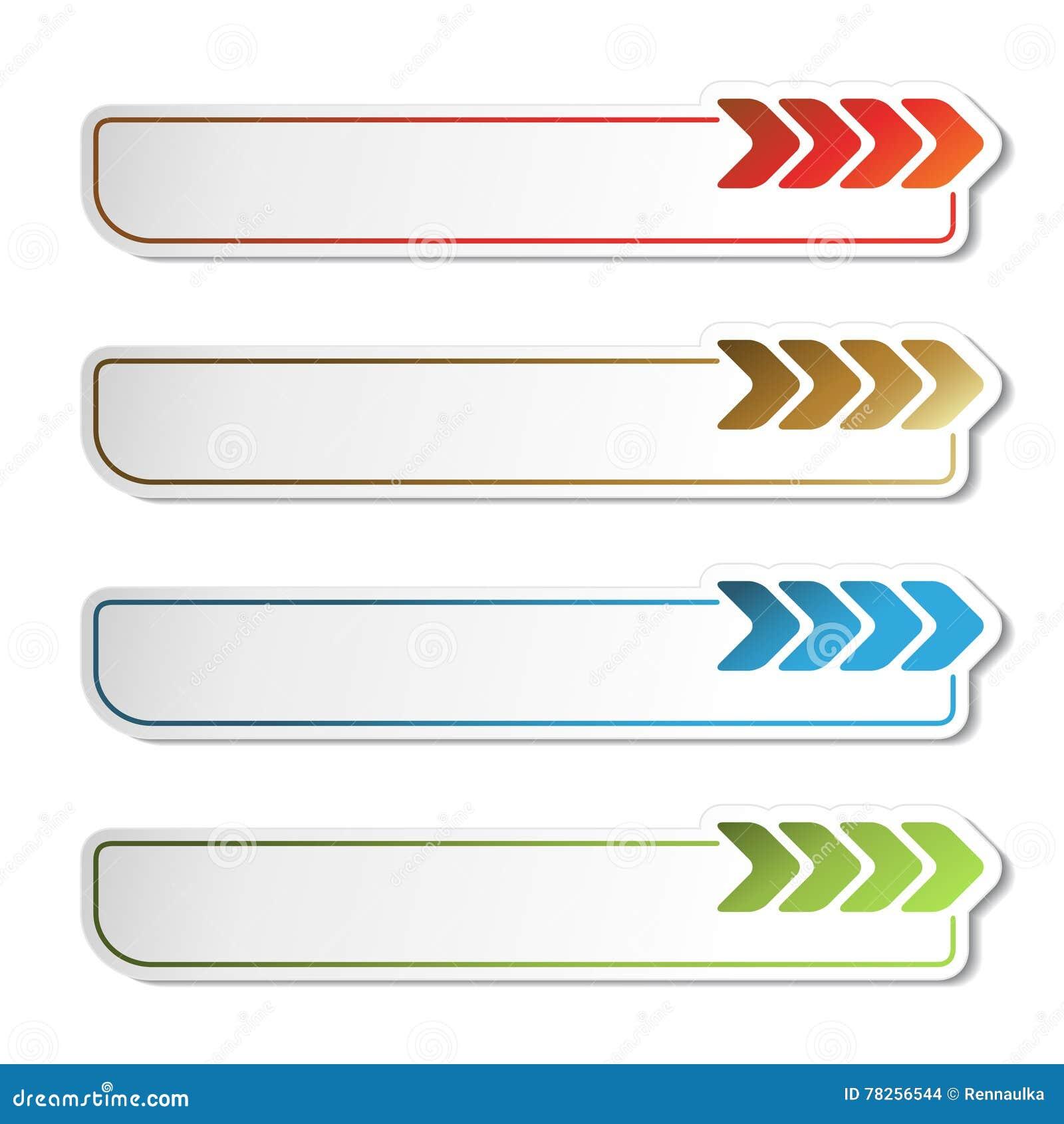 Κουμπιά βελών Χρυσά, πράσινα, μπλε και κόκκινα βέλη στις άσπρες απλές αυτοκόλλητες ετικέττες, ορθογώνιο με τις στρογγυλευμένες γω