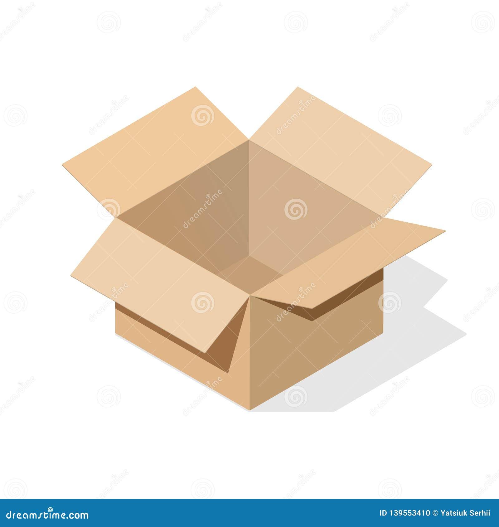 Κουτί από χαρτόνι με την επίπεδη σκιά