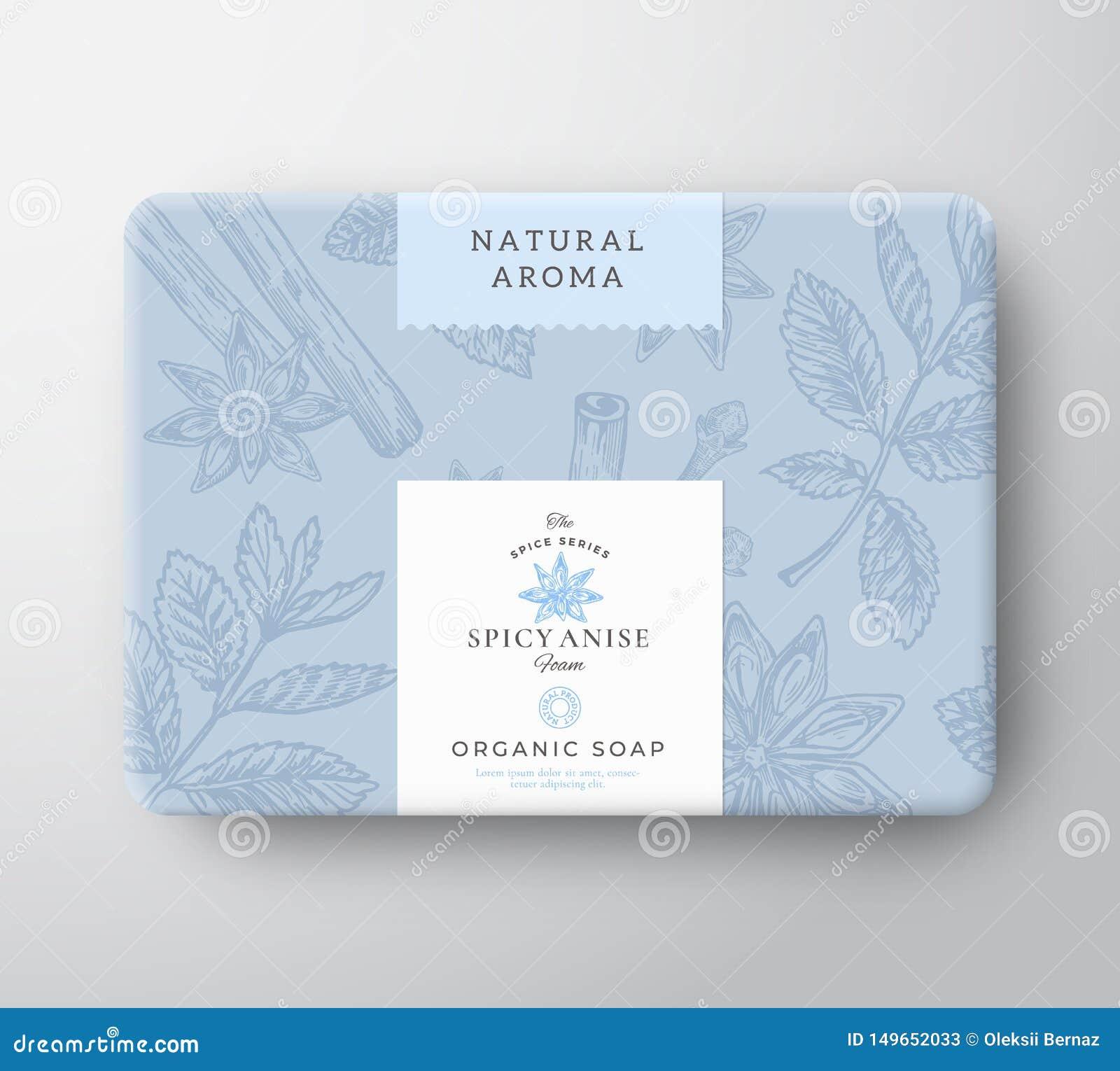Κουτί από χαρτόνι σαπουνιών γλυκάνισου Αφηρημένο τυλιγμένο διάνυσμα εμπορευματοκιβώτιο εγγράφου με την κάλυψη ετικετών Σχέδιο συσ