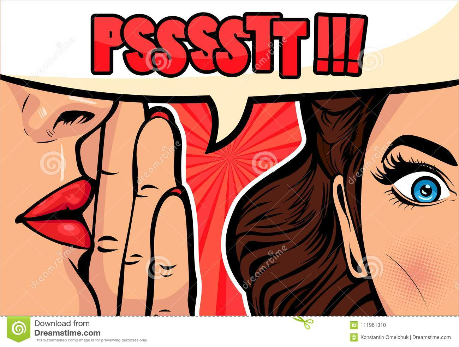 Κουτσομπολιό ή μυστικό ψιθυρίσματος γυναικών στο φίλο της Διανυσματική απεικόνιση στο λαϊκό αναδρομικό κωμικό ύφος τέχνης