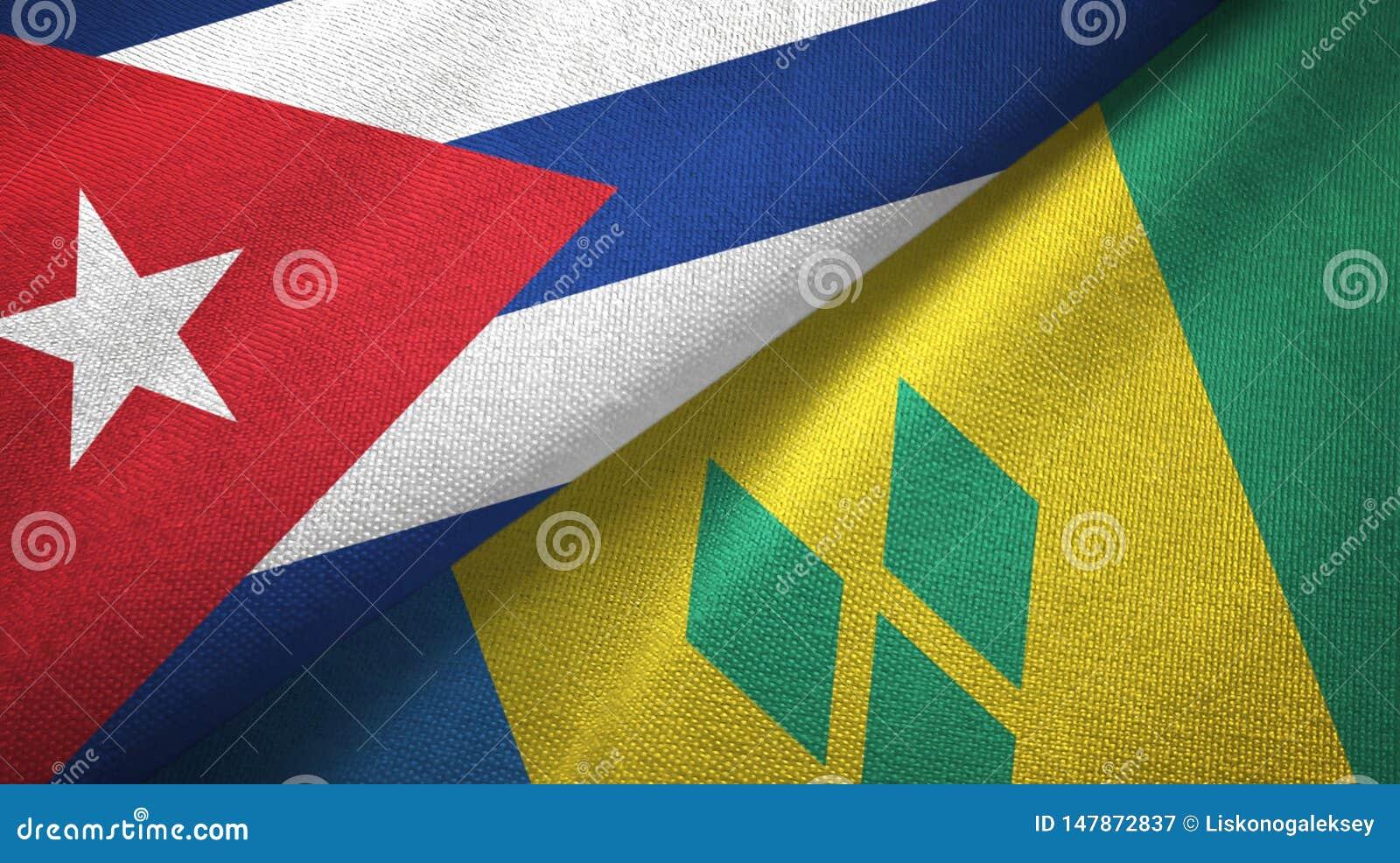 Κούβα και Άγιος Βικέντιος και Γρεναδίνες δύο υφαντικό ύφασμα σημαιών