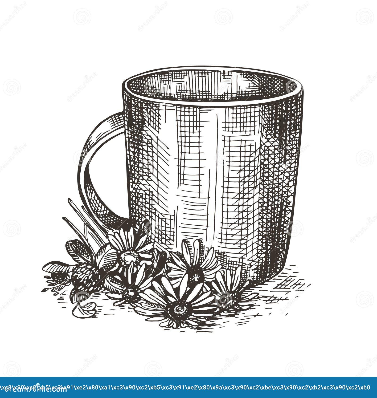 Κούπα και ανθοδέσμη των wildflowers Απεικόνιση ύφους σκίτσων