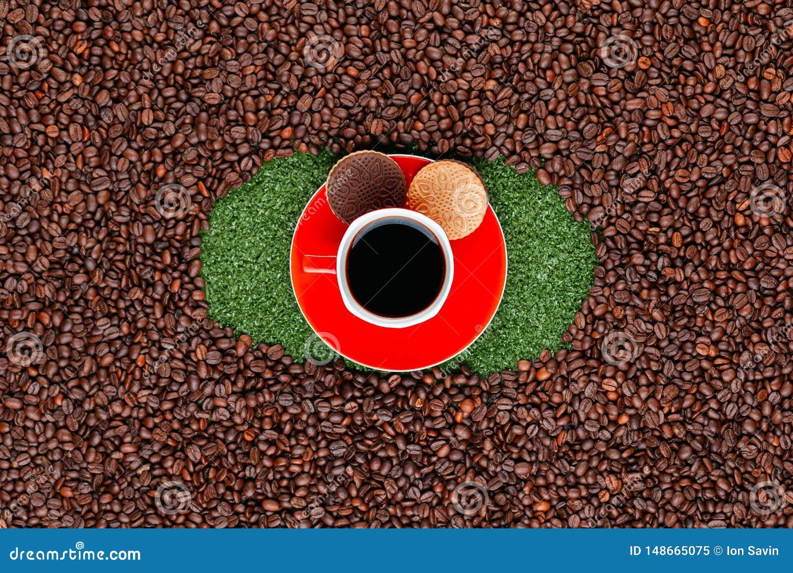 Κούπα καφέ με τα μπισκότα στη χλόη με τα φασόλια καφέ γύρω